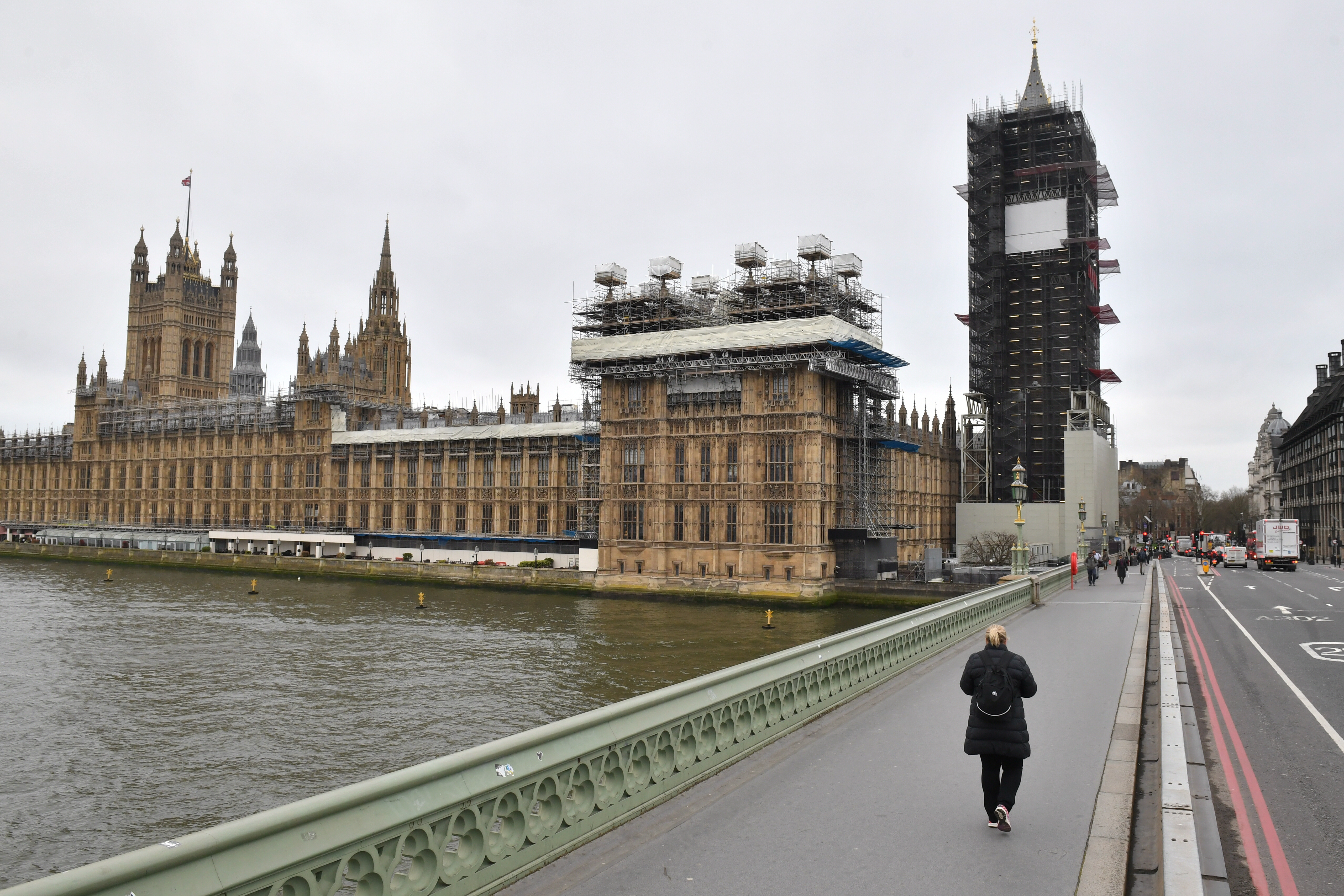 A very quiet Westminster Bridge, as the death toll from coronavirus in the UK reached 71 people.