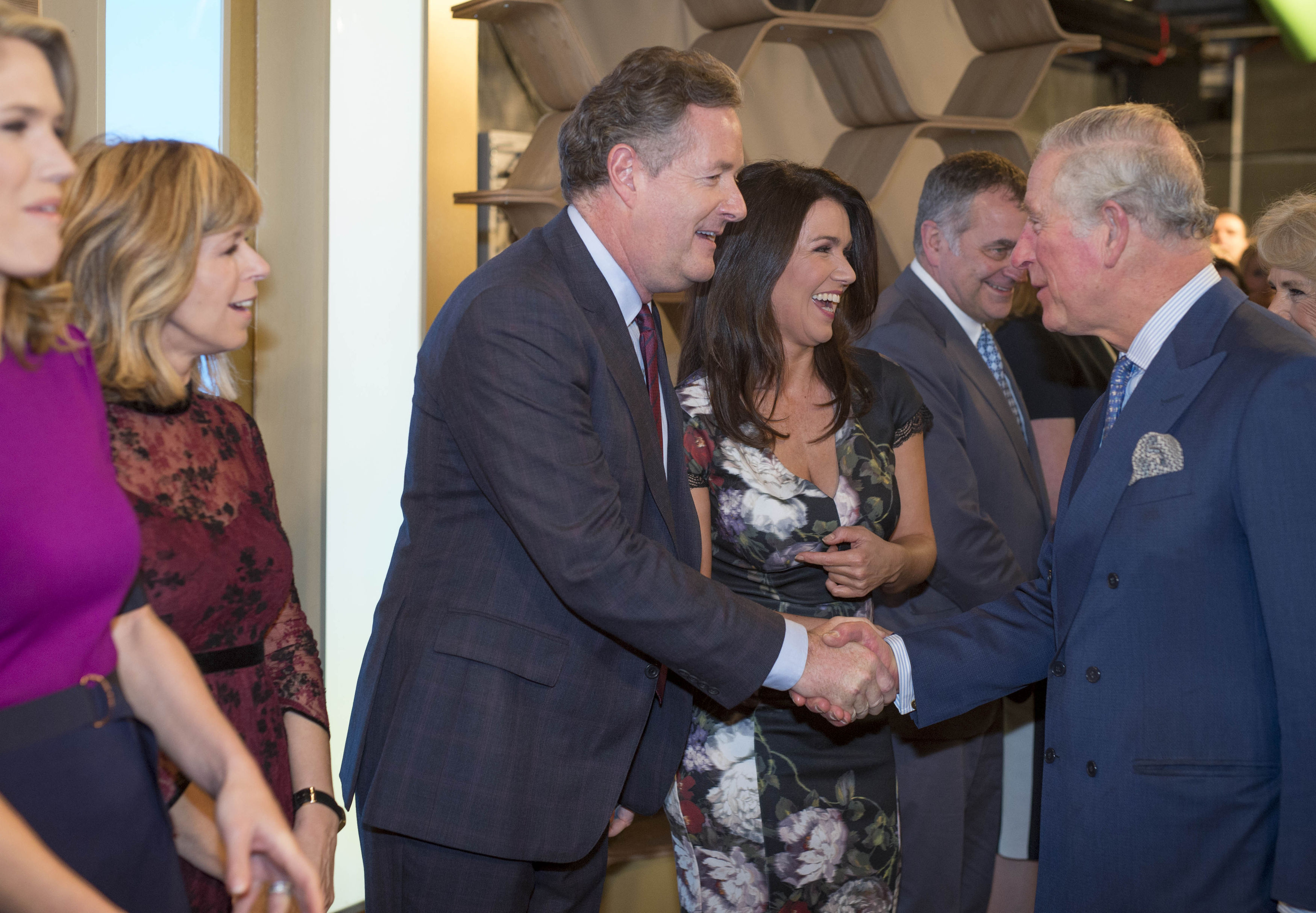 The Prince of Wales meets Piers Morgan during a visit to the London Television Centre, Lambeth, to celebrate the 90th anniversary of the Royal Television Society.