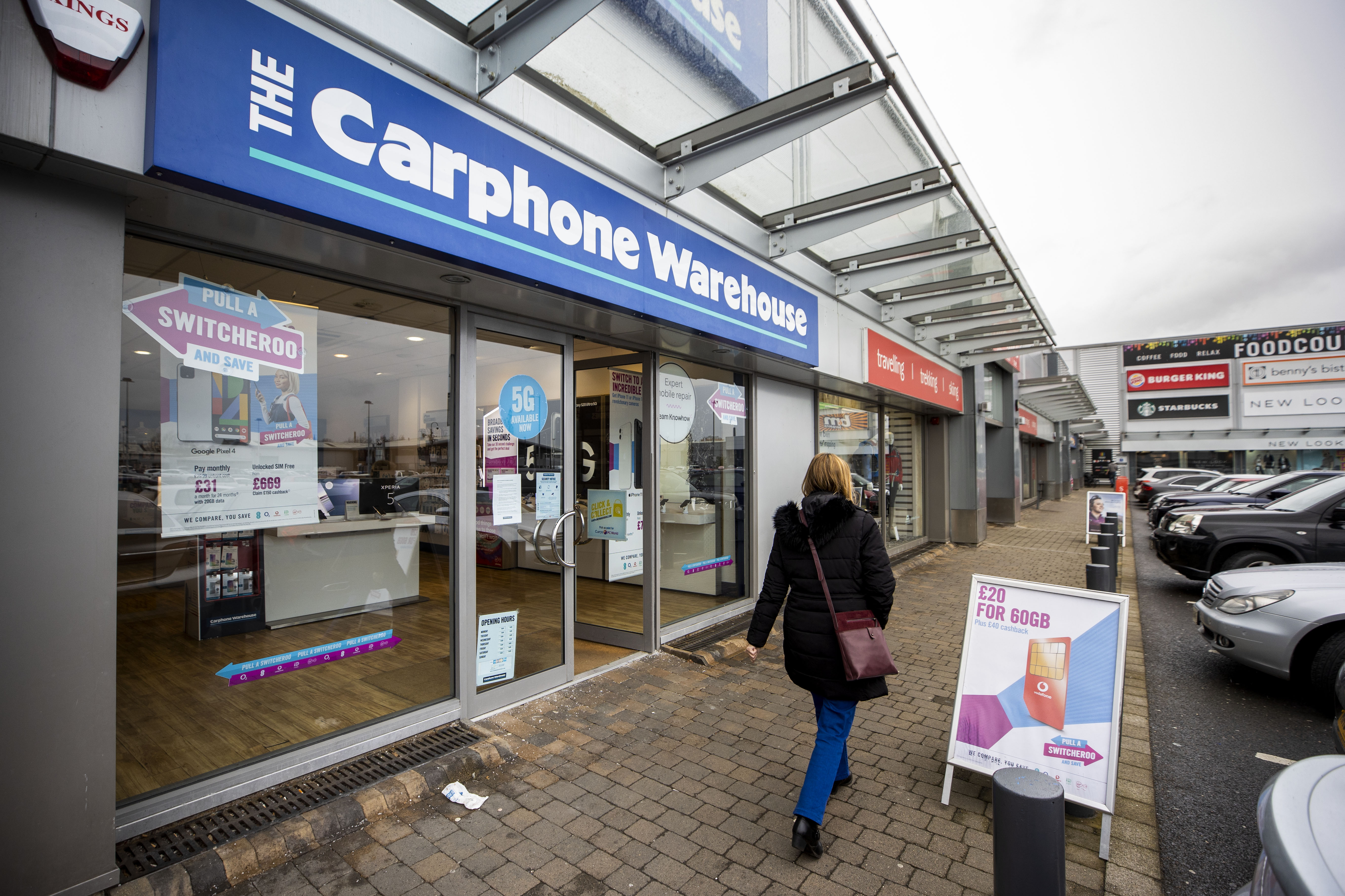 A Carphone Warehouse store on Boucher Road in Belfast, as nearly 3,000 jobs are being axed at Dixons Carphone after the retailer announced plans to shut all 531 of it???s standalone Carphone Warehouse mobile phone stores in the UK.