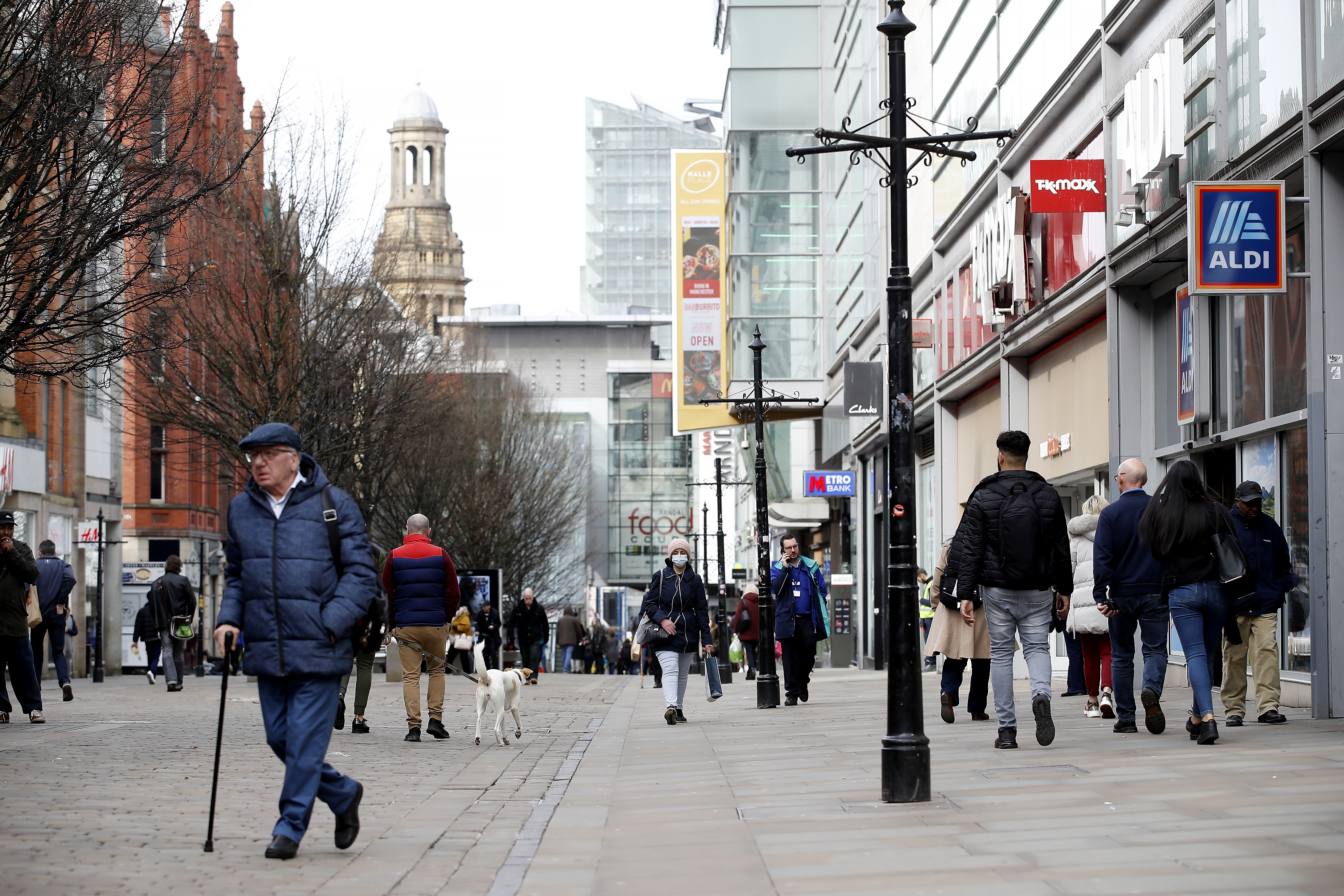 A general view of Market Street in Manchester as NHS England announced that the coronavirus death toll had reached 104 in the UK.
