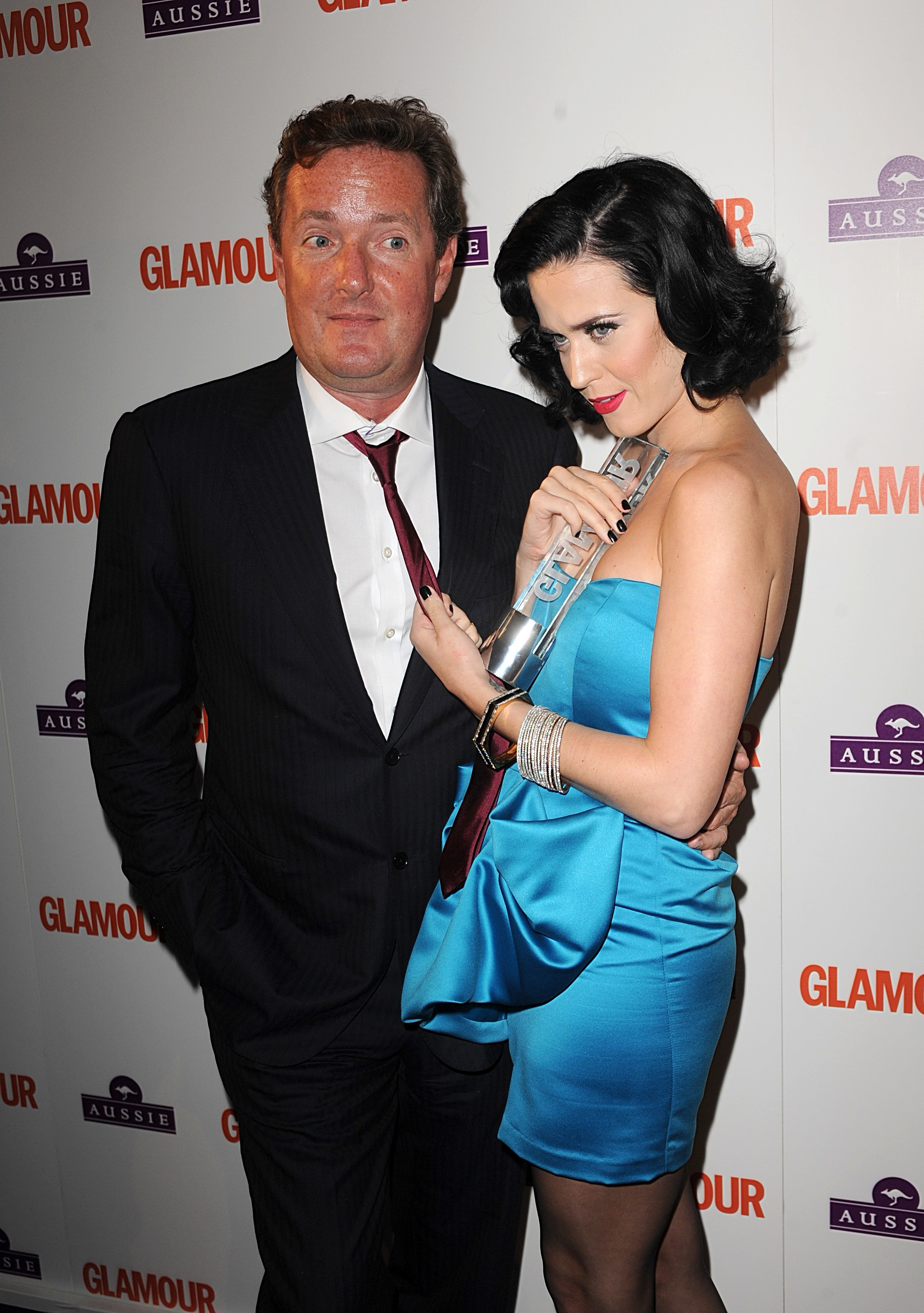 Katy Perry with the award for Aussie Hare Care Newcomer and Piers Morgan, at the Glamour Woman of the Year Awards 2009, at Berkeley Square Gardens, W1