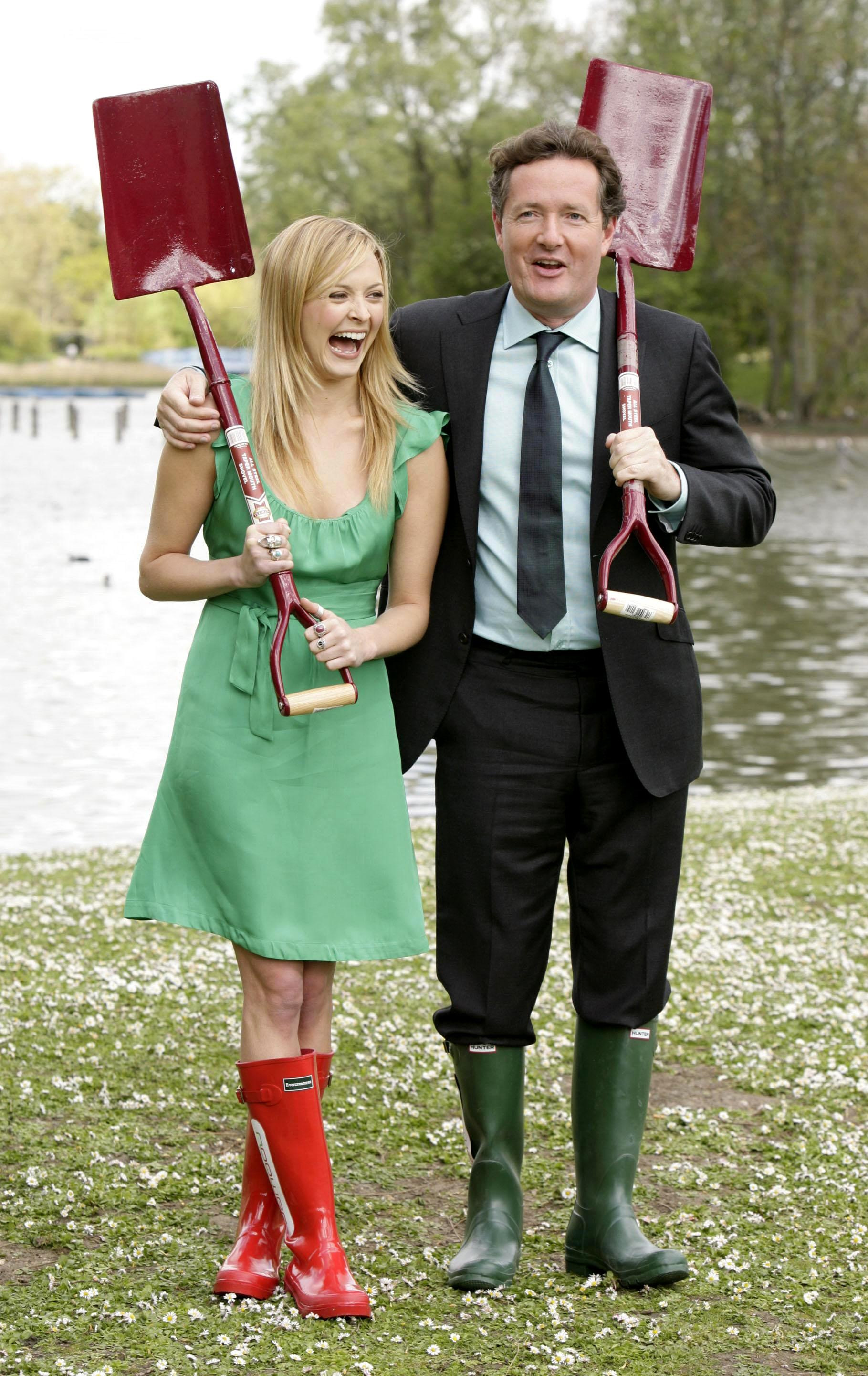 Fearne Cotton and Piers Morgan during a photocall to launch npower's search to find 'green-agers' across the UK to take part in it's Climate Cops programme, in Regents Park, central London.