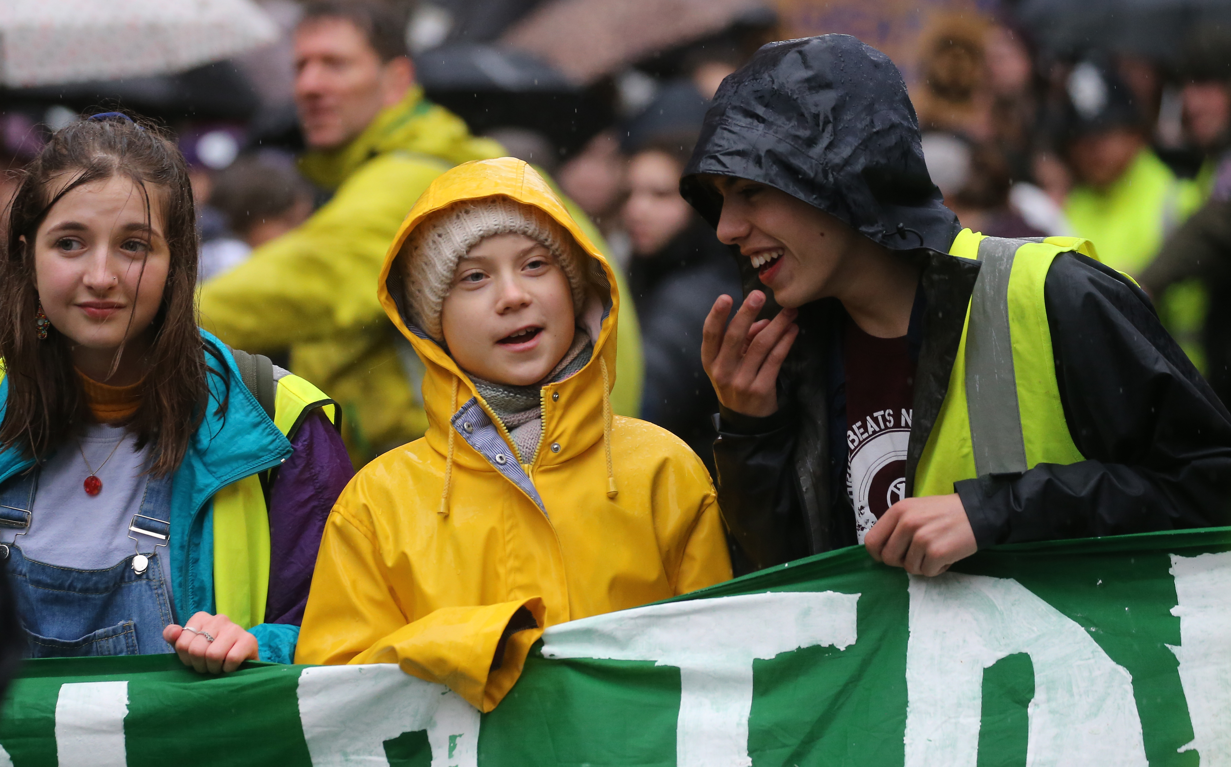 (centre) Environmental activist Greta Thunberg interacts with other youngsters during a Bristol Youth Strike 4 Climate protest in Bristol. Picture date: Friday February 28, 2020. Photo credit should read: EMPICS/EMPICS Entertainment