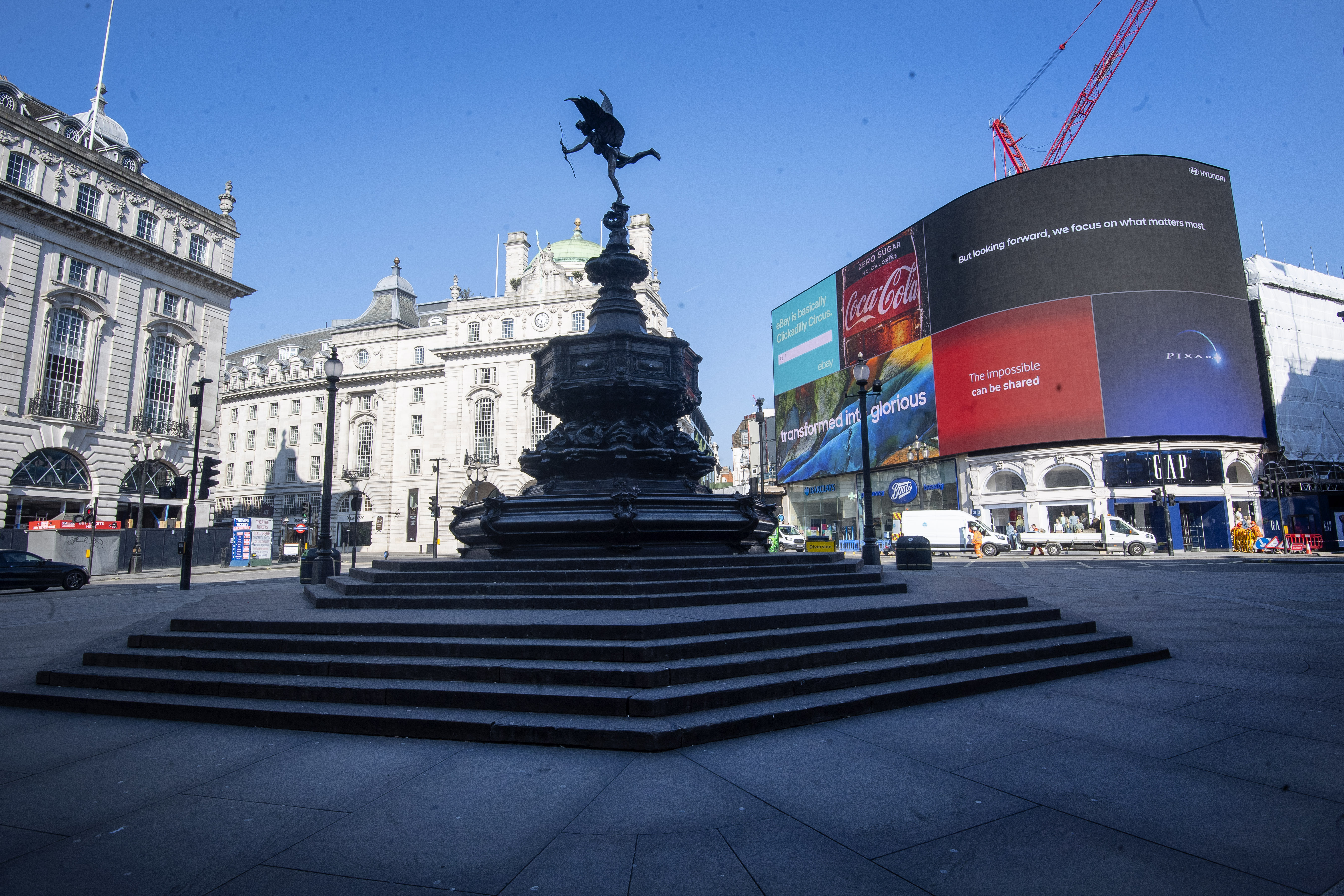 A deserted Piccadilly Circus during morning rush hour after Prime Minister Boris Johnson put the UK in lockdown to help curb the spread of the coronavirus.