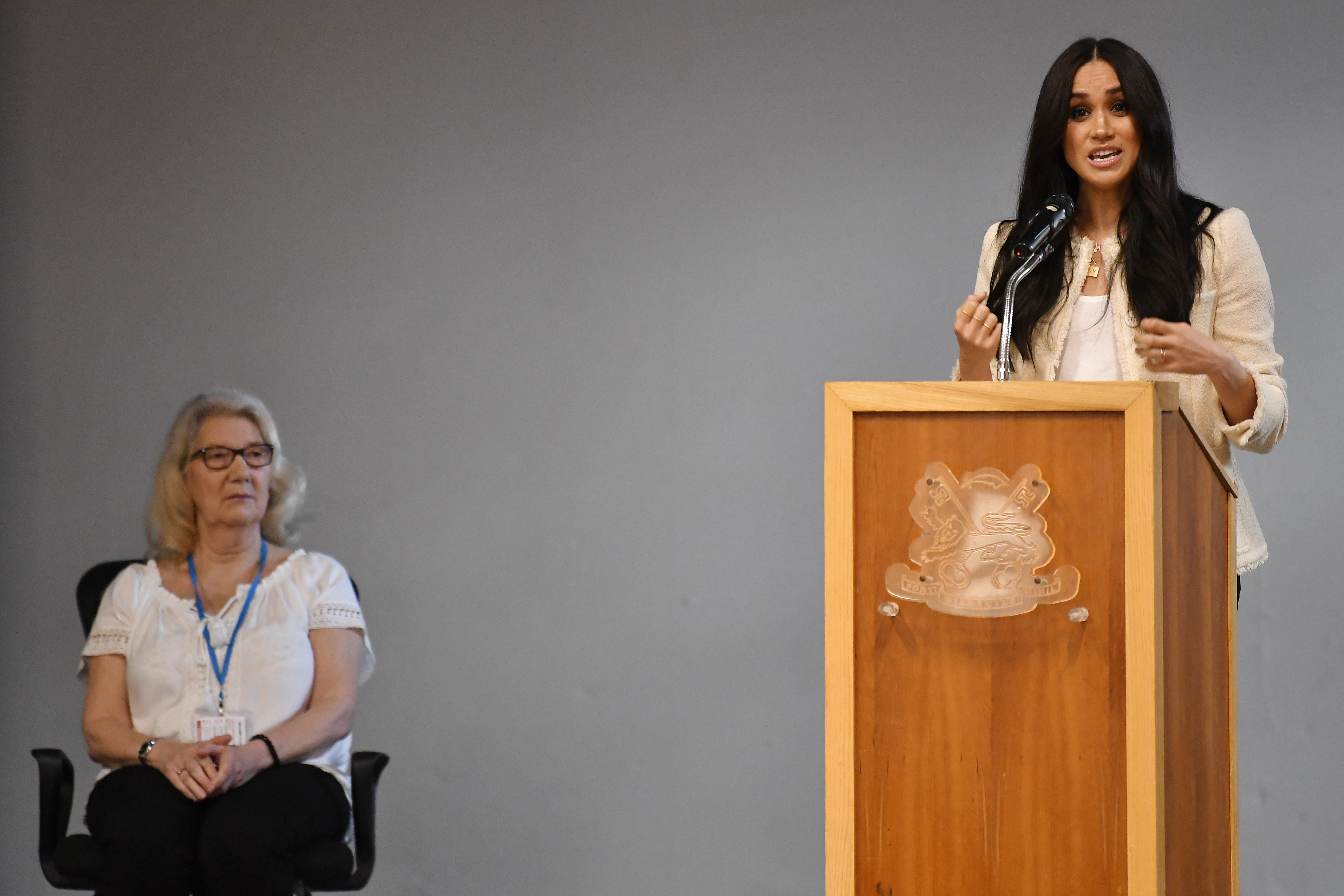 The Duchess of Sussex speaks during a school assembly as part of a surprise visit to the Robert Clack Upper School in Dagenham, Essex, to celebrate International Women's Day.