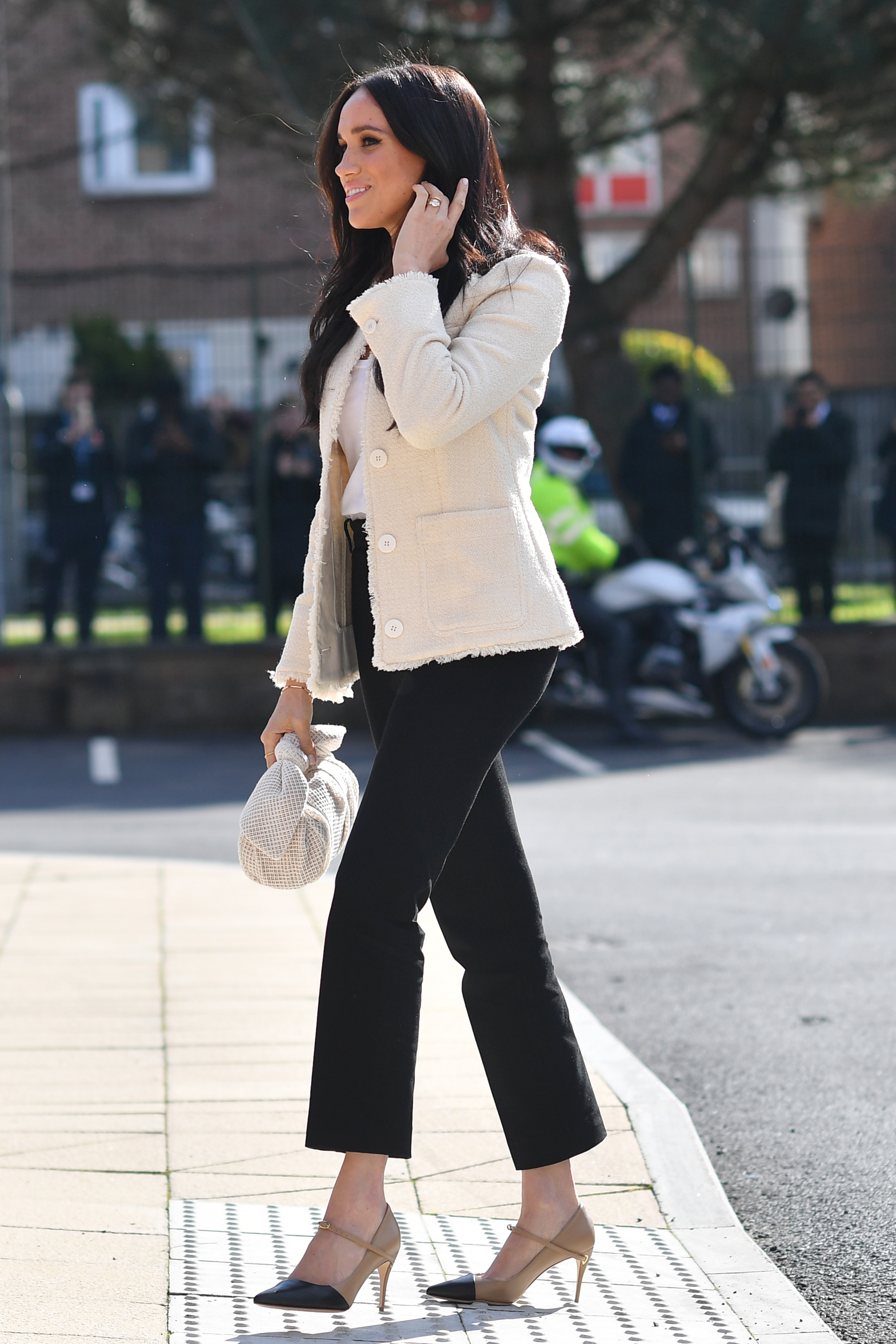 The Duchess of Sussex arrives at the Robert Clack Upper School in Dagenham, Essex, for a surprise visit to celebrate International Women's Day.