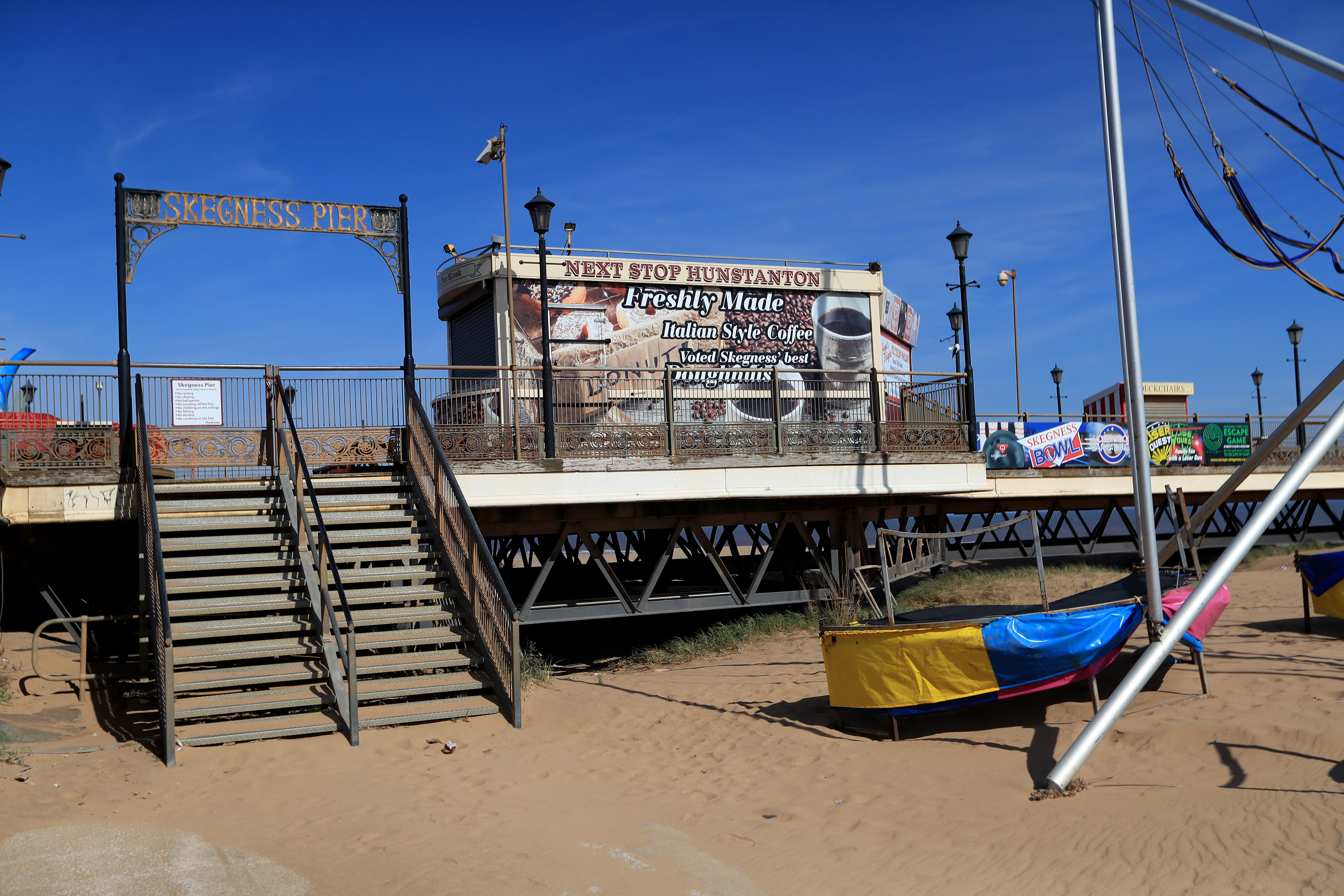 Skegness pier is closed, the day after Prime Minister Boris Johnson put the UK in lockdown to help curb the spread of the coronavirus.