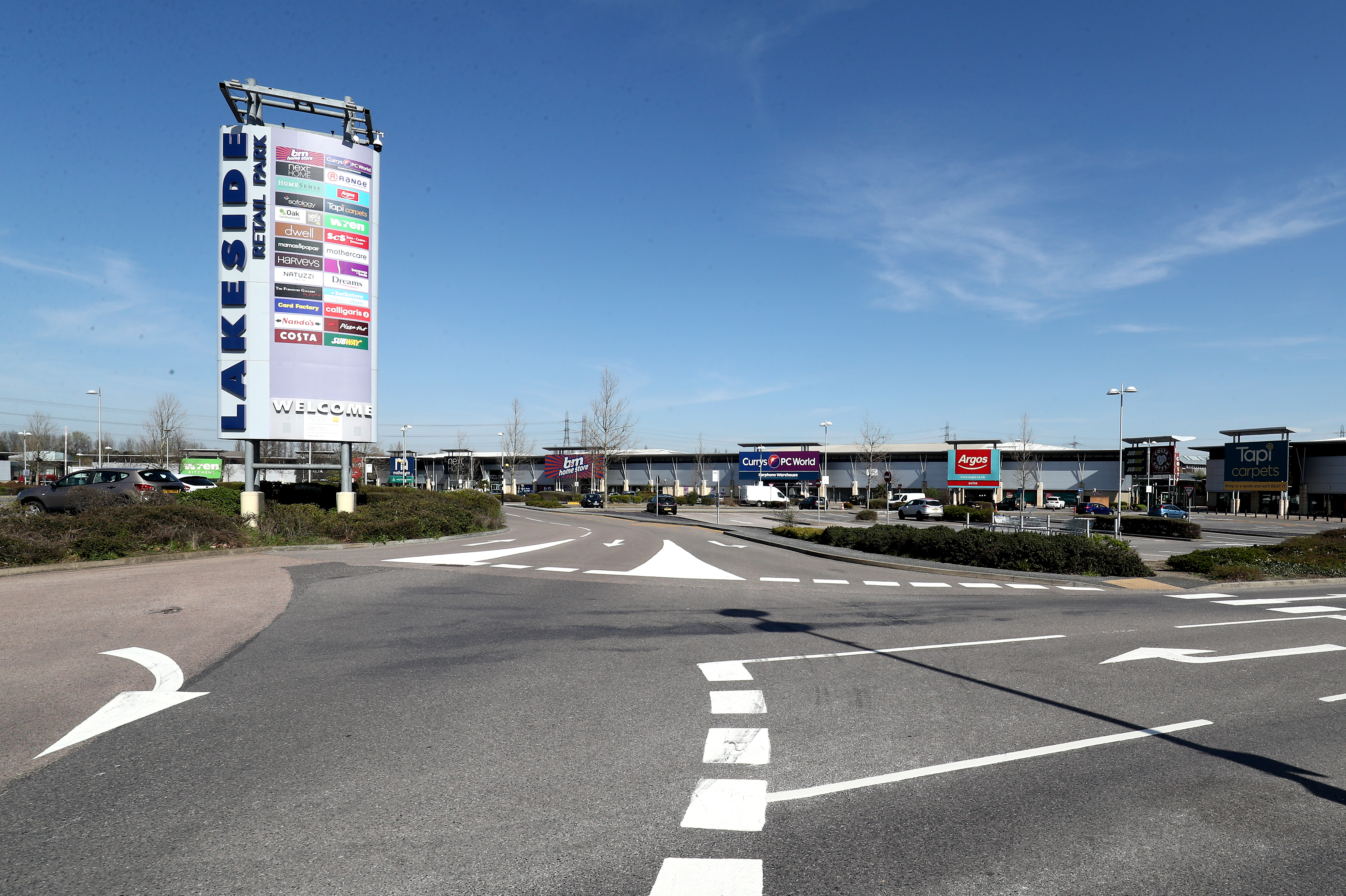 A view of Lakeside Retail Park in Thurrock, Essex, the day after Prime Minister Boris Johnson put the UK in lockdown to help curb the spread of the coronavirus.