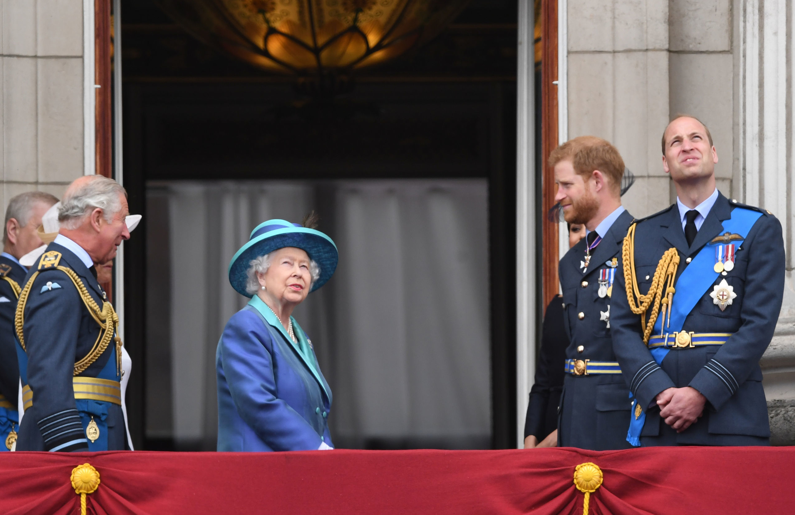 File photo dated 10/07/18 of (left to right)the Prince of Wales, Queen Elizabeth II, the Duke of Sussex and the Duke of Cambridge. The Queen will host crisis talks with senior royals and the Duke of Sussex on Monday in a bid to find a solution to Meghan and Harry's future roles.
