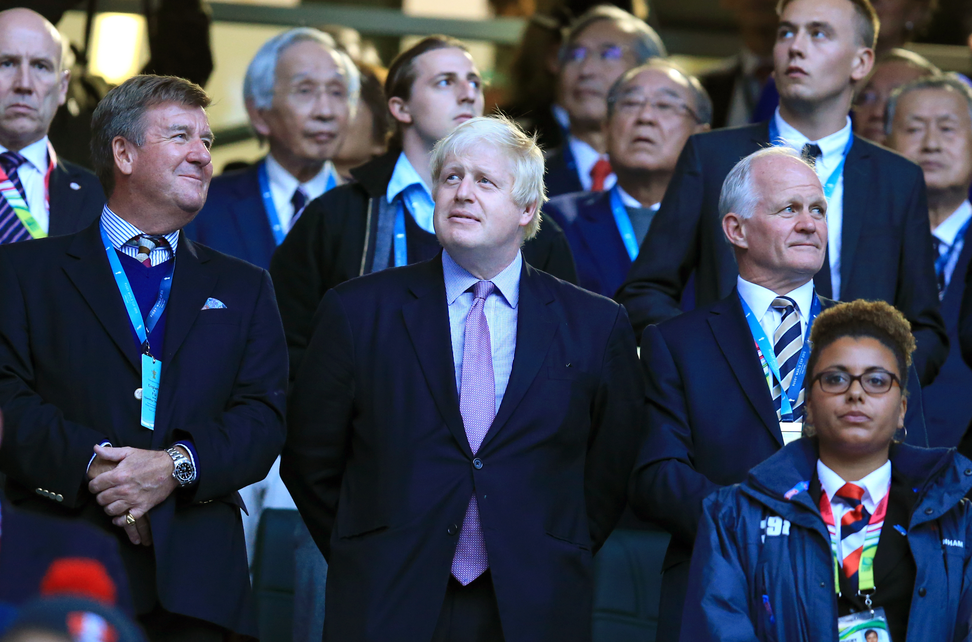 Mayor of London Boris Johnson before the Rugby World Cup match at Twickenham Stadium, London.