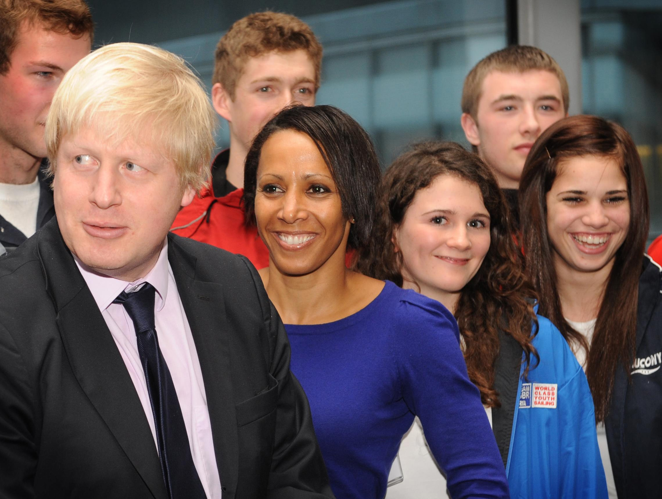 London Mayor Boris Johnson (left)  meets Olympic hopefuls, along with Dame Kelly Holmes (second left), where he announced that 30 young athletes would receive grants of 1,000 each to help them reach their potential by the 2012 Olympics.