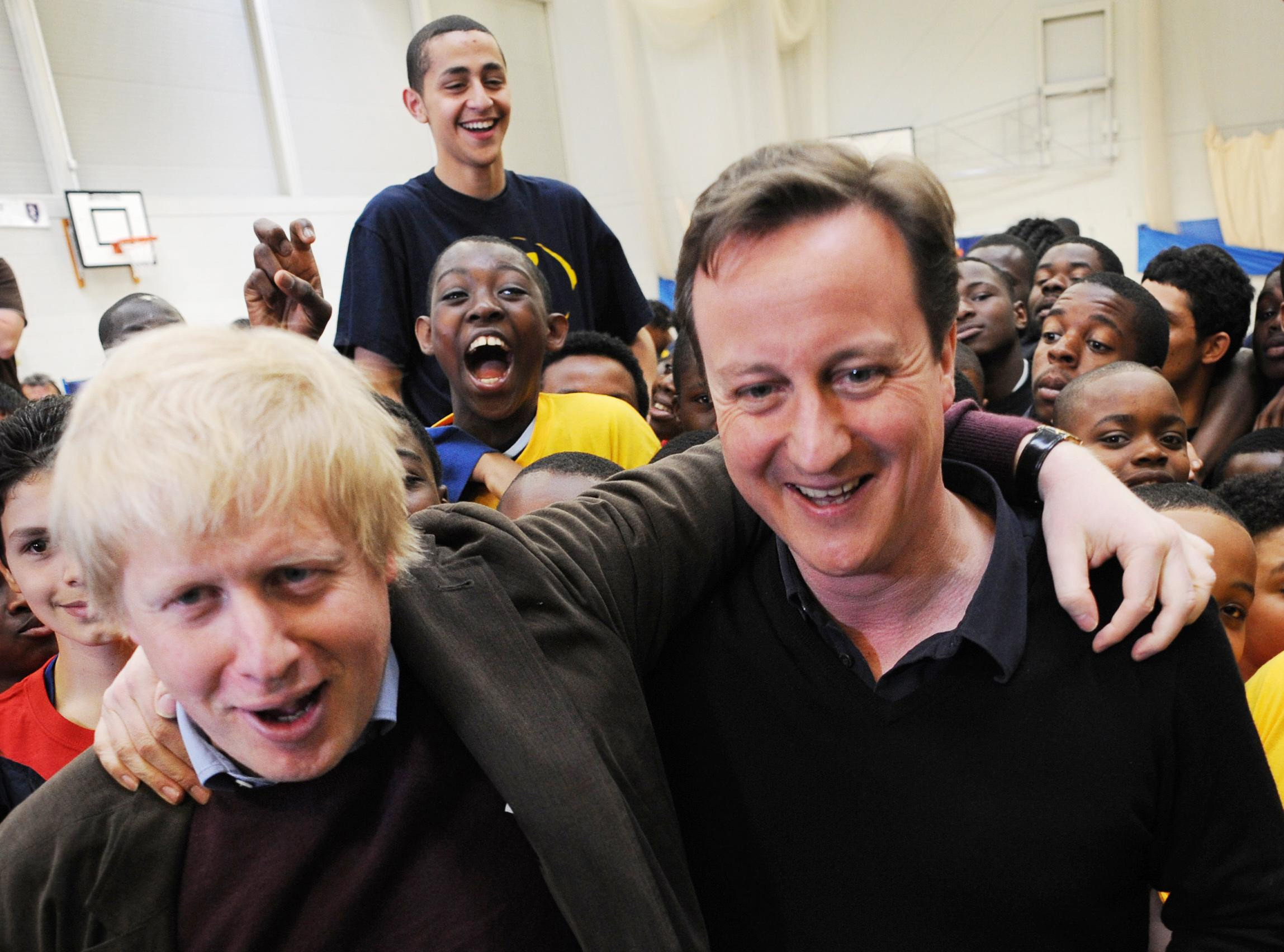 Conservative Party leader David Cameron and London Mayor Boris Johnson meet students at the City of London Academy in south east London today.