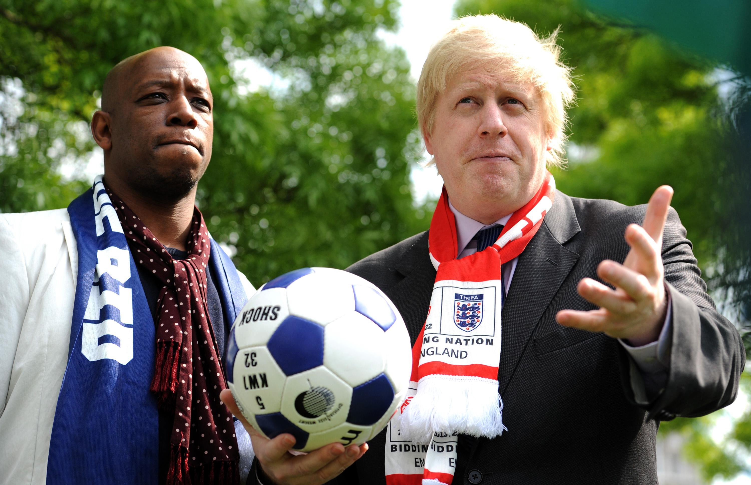 London Mayor Boris Johnson (right) speaks to media with ex footballer Ian Wright after taking receipt of London's official copy of the final World Cup 2018 bid book outside City Hall, London.