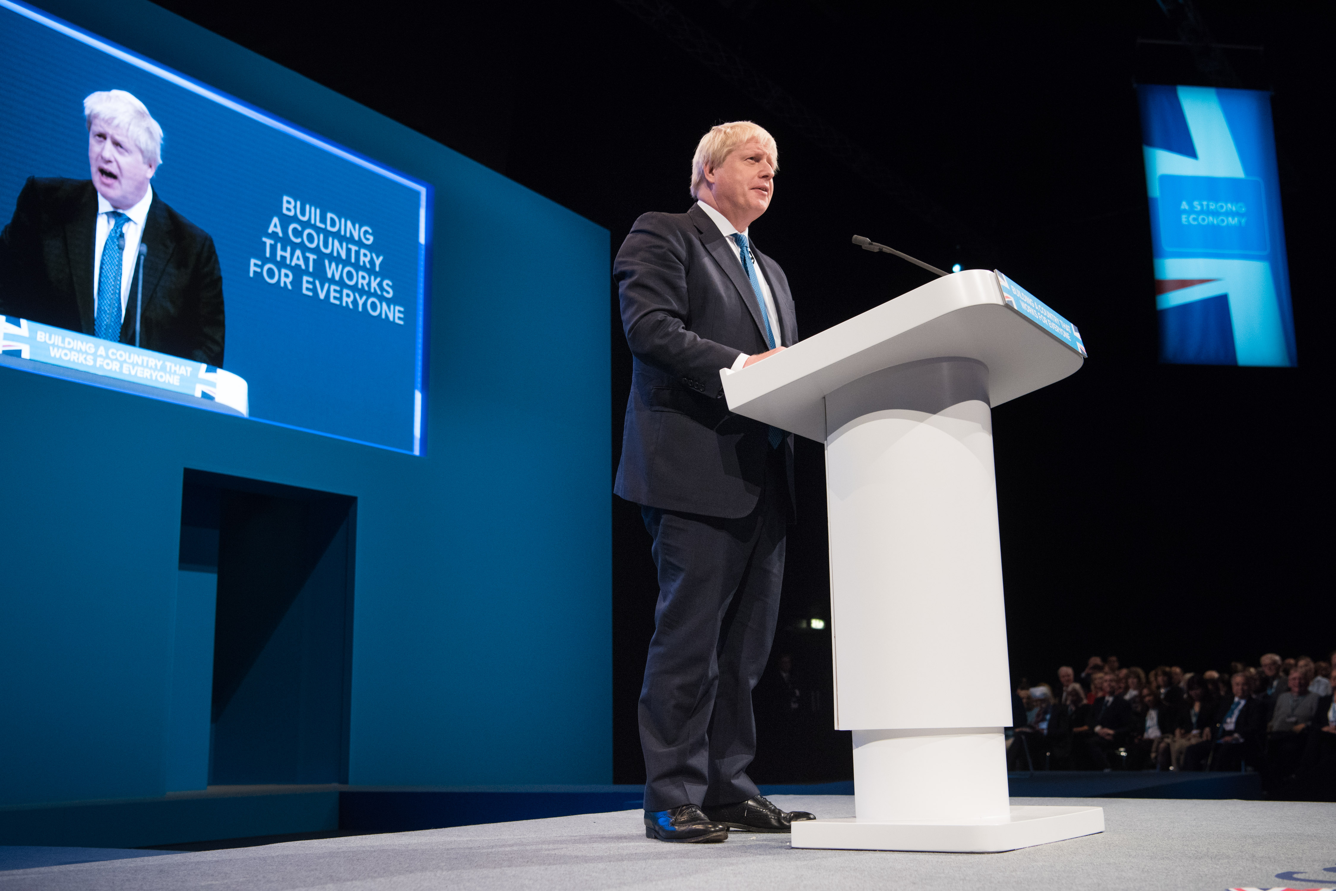 Foreign Secretary Boris Johnson makes a speech during the Conservative Party Conference, at the Manchester Central Convention Complex in Manchester. Picture date: 3 October, 2017. Photo credit should read: Matt Crossick/ EMPICS Entertainment.