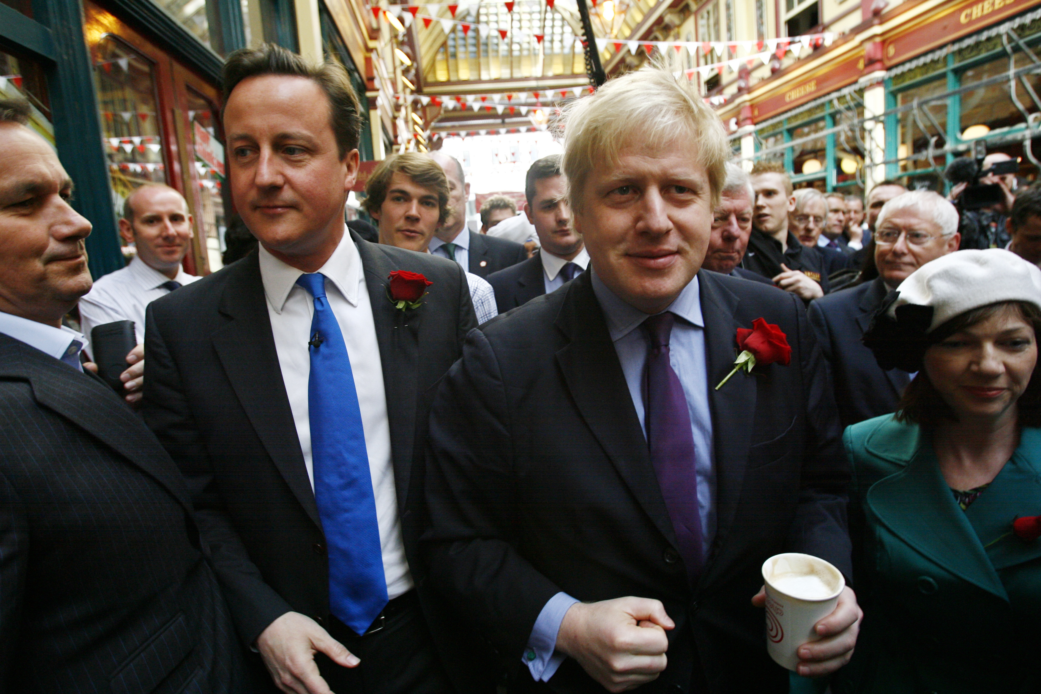 Conservative Party leader David Cameron and the Mayor of London Boris Johnson celebrate St George's Day at Leadenhall Market in the City of London. PRESS ASSOCIATION Photo. Picture date: Friday April 23, 2010. See PA story ELECTION Tories. Photo credit should read: Johnny Green/PA Wire
