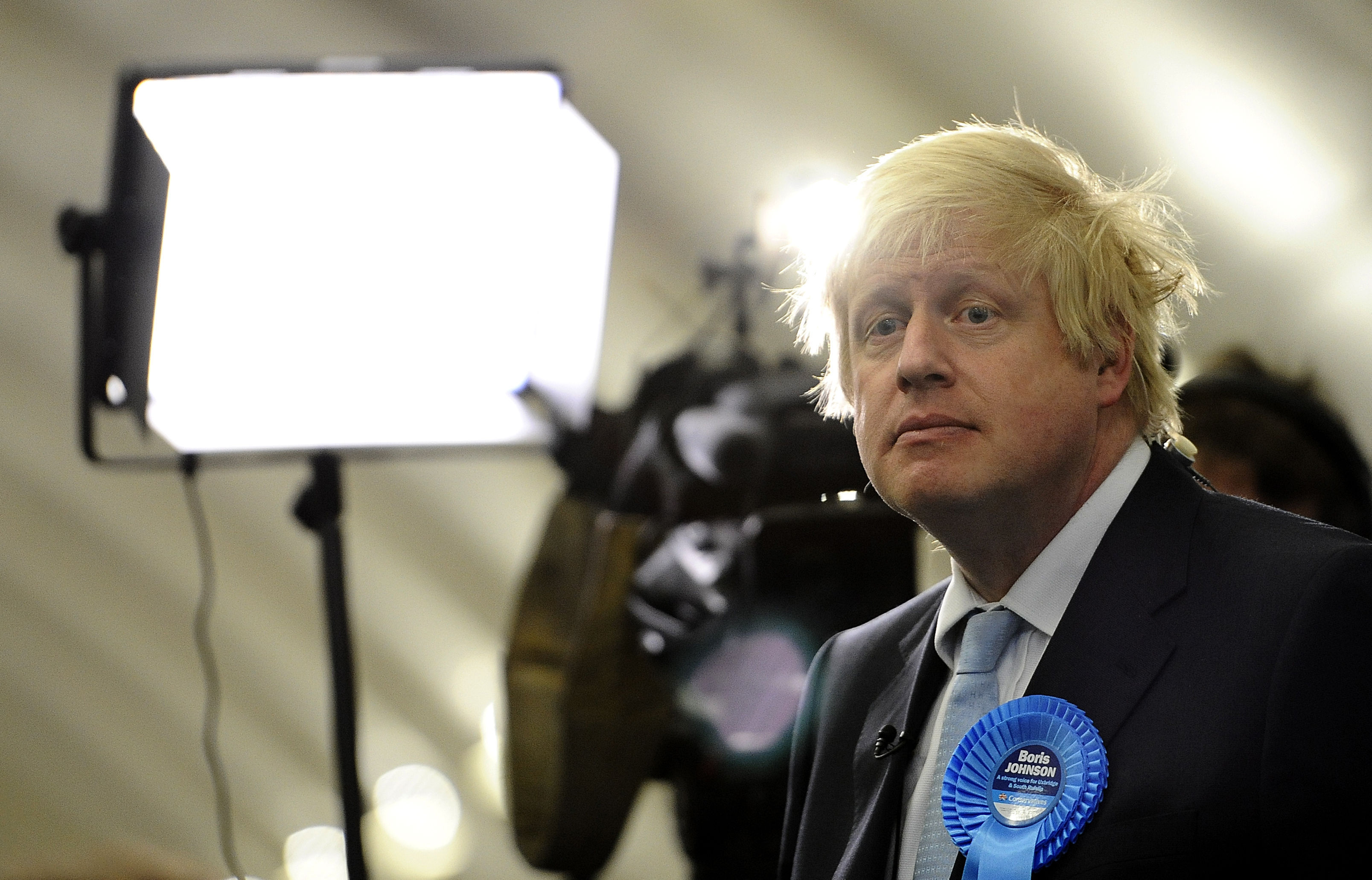 Mayor of London and prospective Conservative candidate for Uxbridge and South Ruislip Boris Johnson after the General Election count at Brunel University, London.