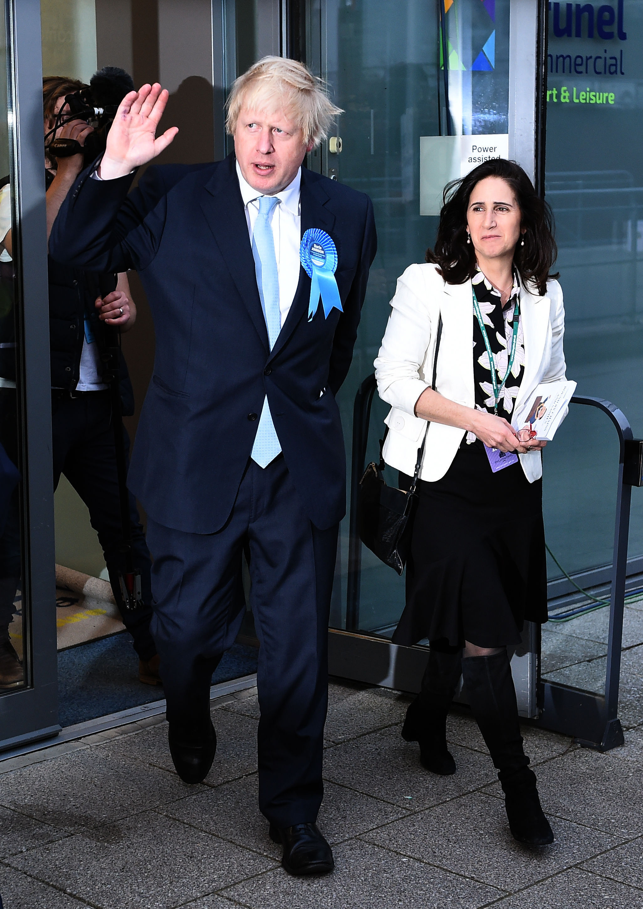 Mayor of London and Conservative MP for Uxbridge and South Ruislip Boris Johnson leaves Brunel University with his wife Marina after the General Election count.