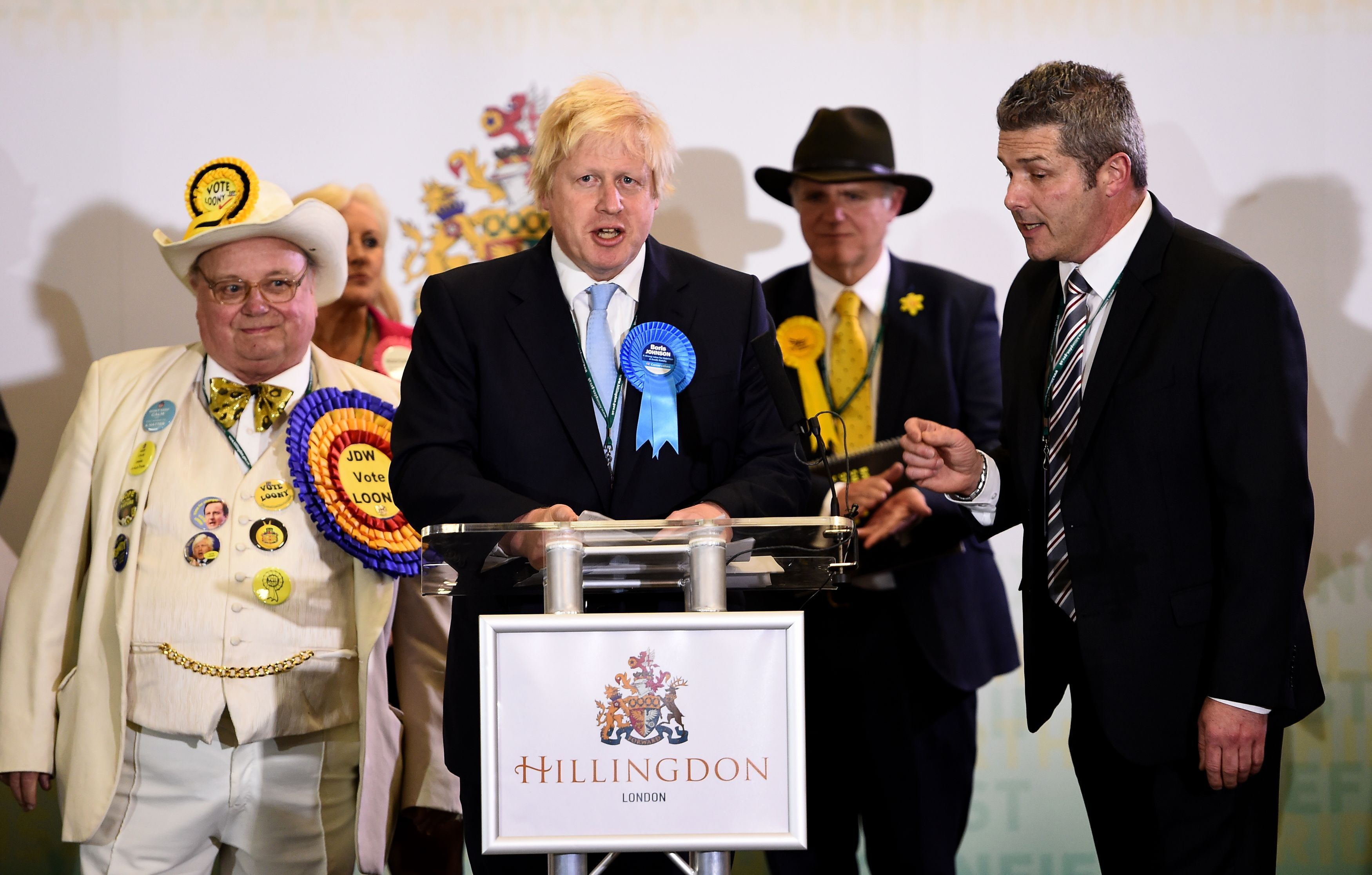 Independent candidate Michael Doherty (right) attempts to interrupt Mayor of London Boris Johnson as he makes a speech after winning the Uxbridge and South Ruislip seat during the General Election count at Brunel University, London.