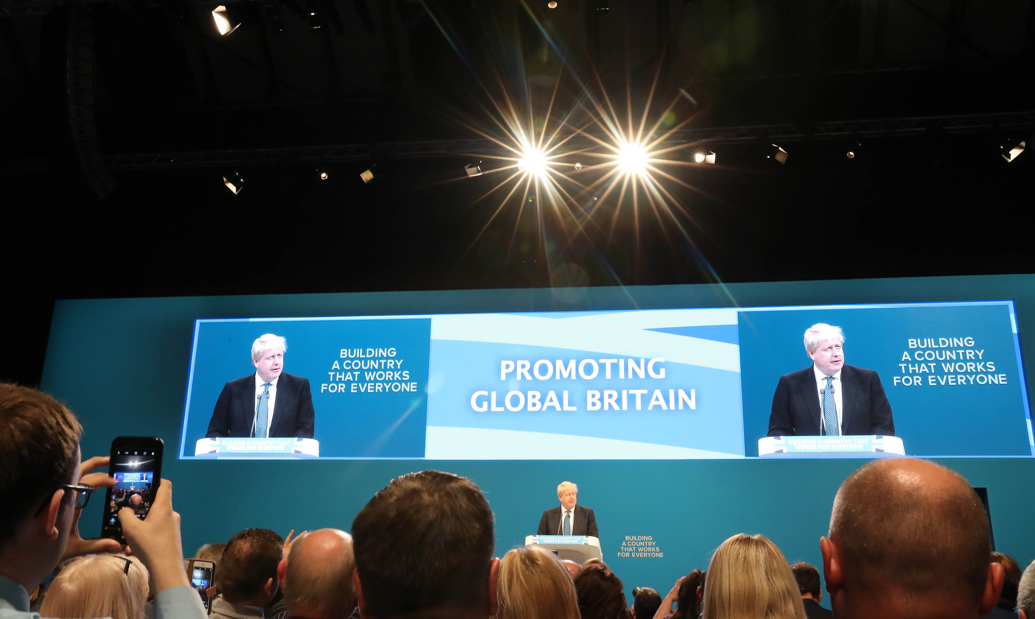 Foreign Secretary Boris Johnson delivering his speech at the Conservative party conference at the Manchester Central Convention Complex in Manchester.