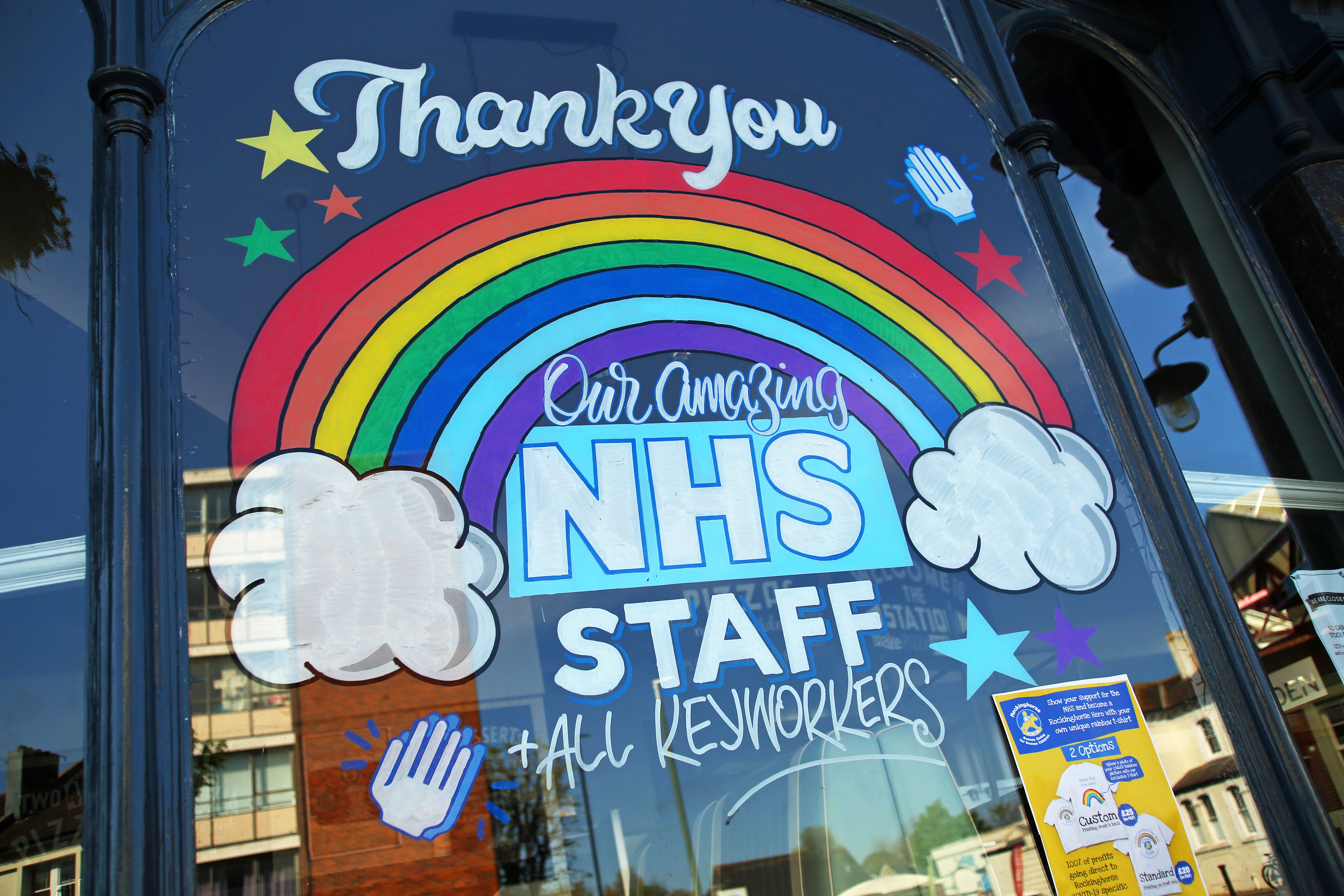 A colourful window display in Hove thanks the NHS staff and key workers as the UK continues in lockdown to help curb the spread of the coronavirus.