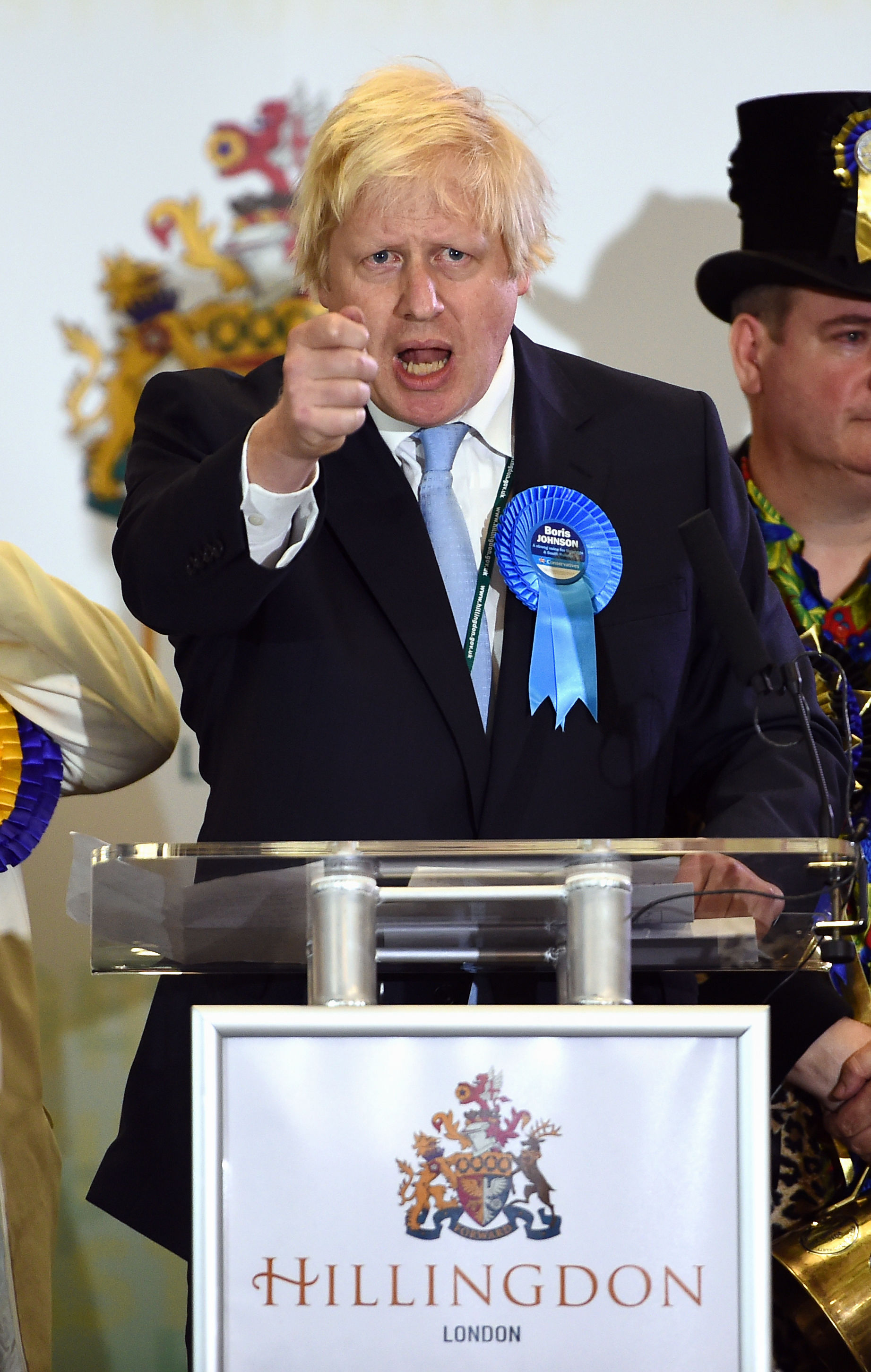 Mayor of London and prospective Conservative candidate for Uxbridge and South Ruislip, Boris Johnson, speaks after winning the seat during the General Election count at Brunel University, London.
