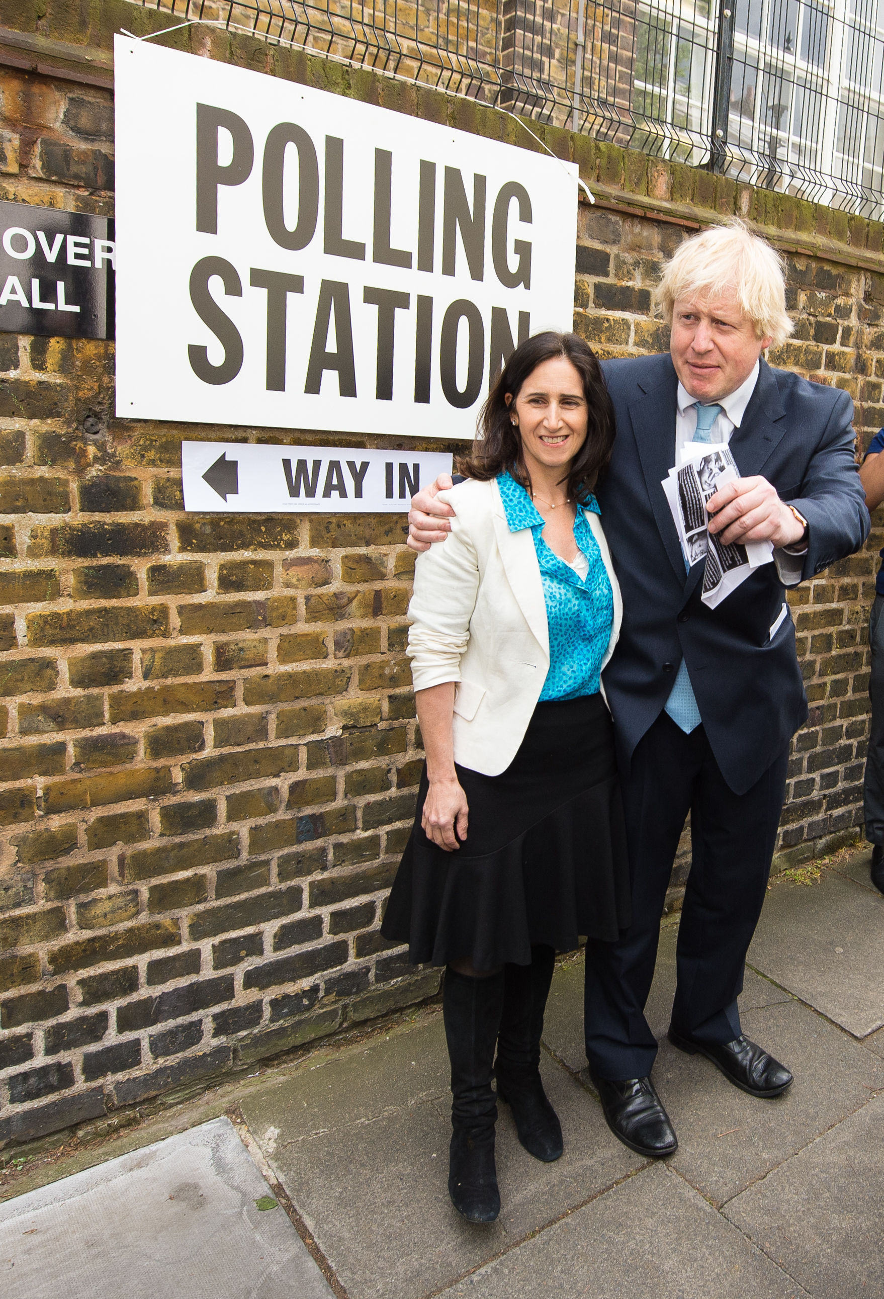 Boris Johnson and his wife Marina Wheeler leave a polling station in Islington, north London, after voting the in the General Election 2015.