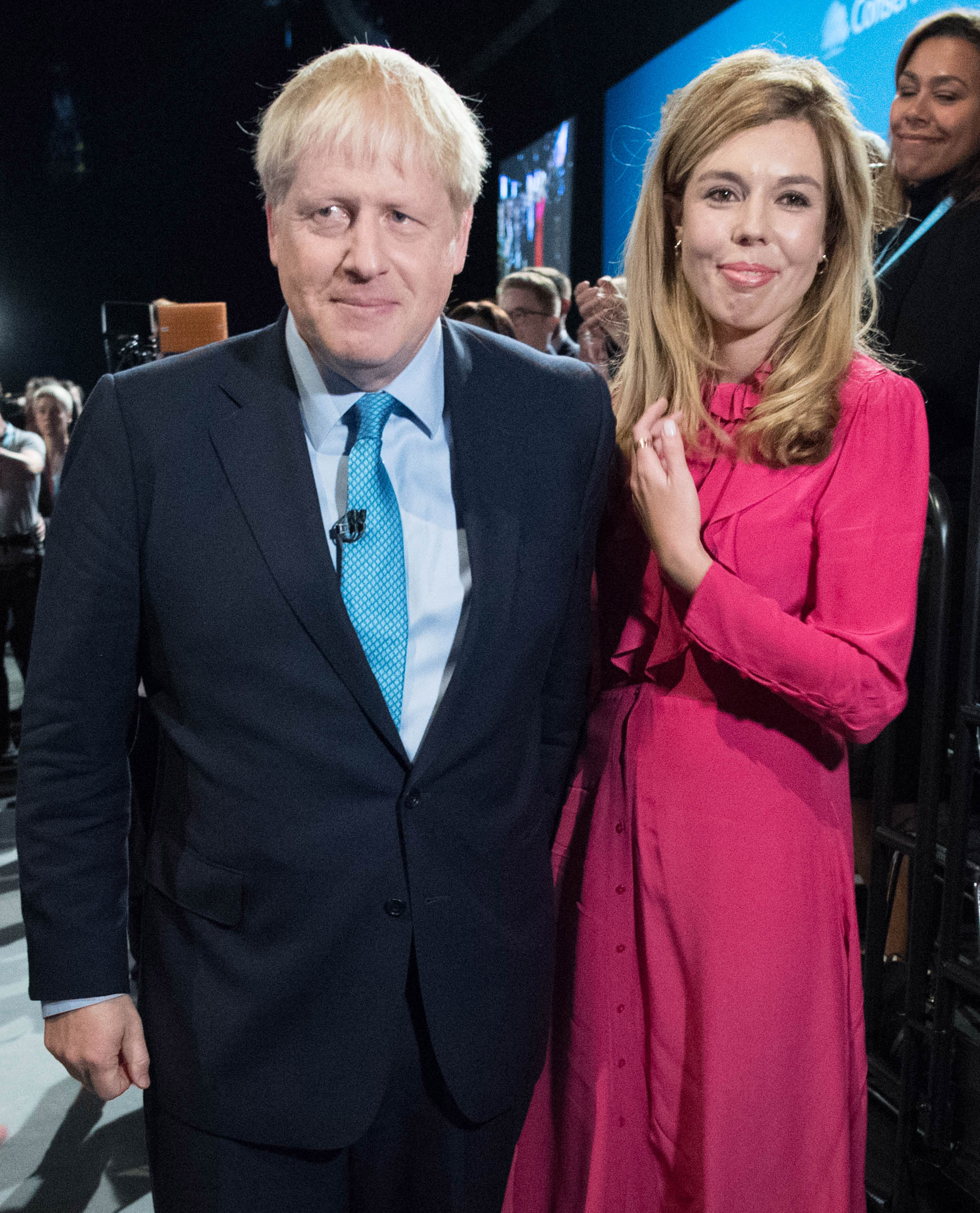 File photo dated 02/10/2019 of Prime Minister Boris Johnson with partner Carrie Symonds, they have announced that they are expecting a baby in the early summer and that they have got engaged.