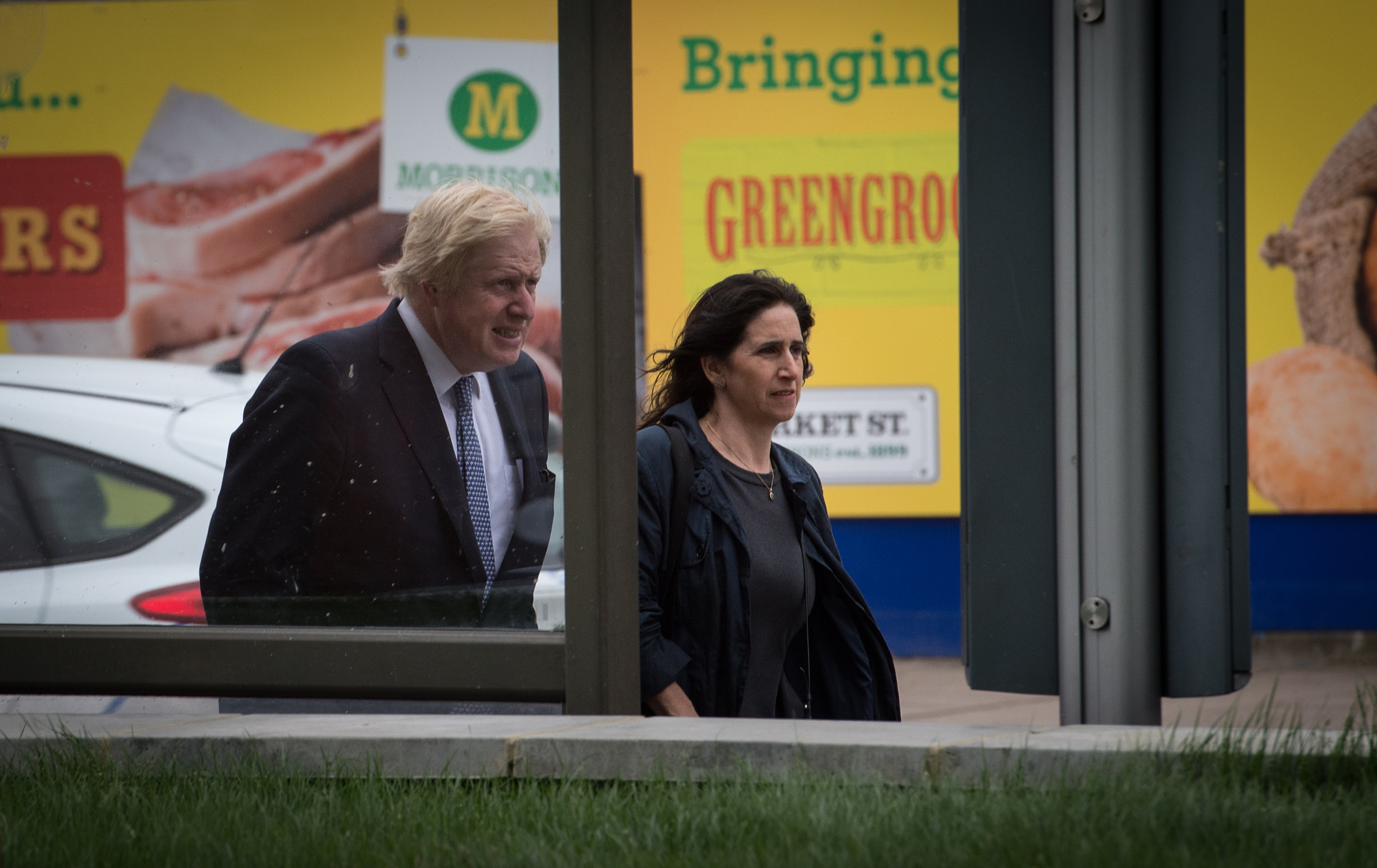 Mayor of London Boris Johnson and his wife Marina arrive at Utility Warehouse in Hendon for a Q&A with Prime Minister David Cameron while on the General Election campaign trail.