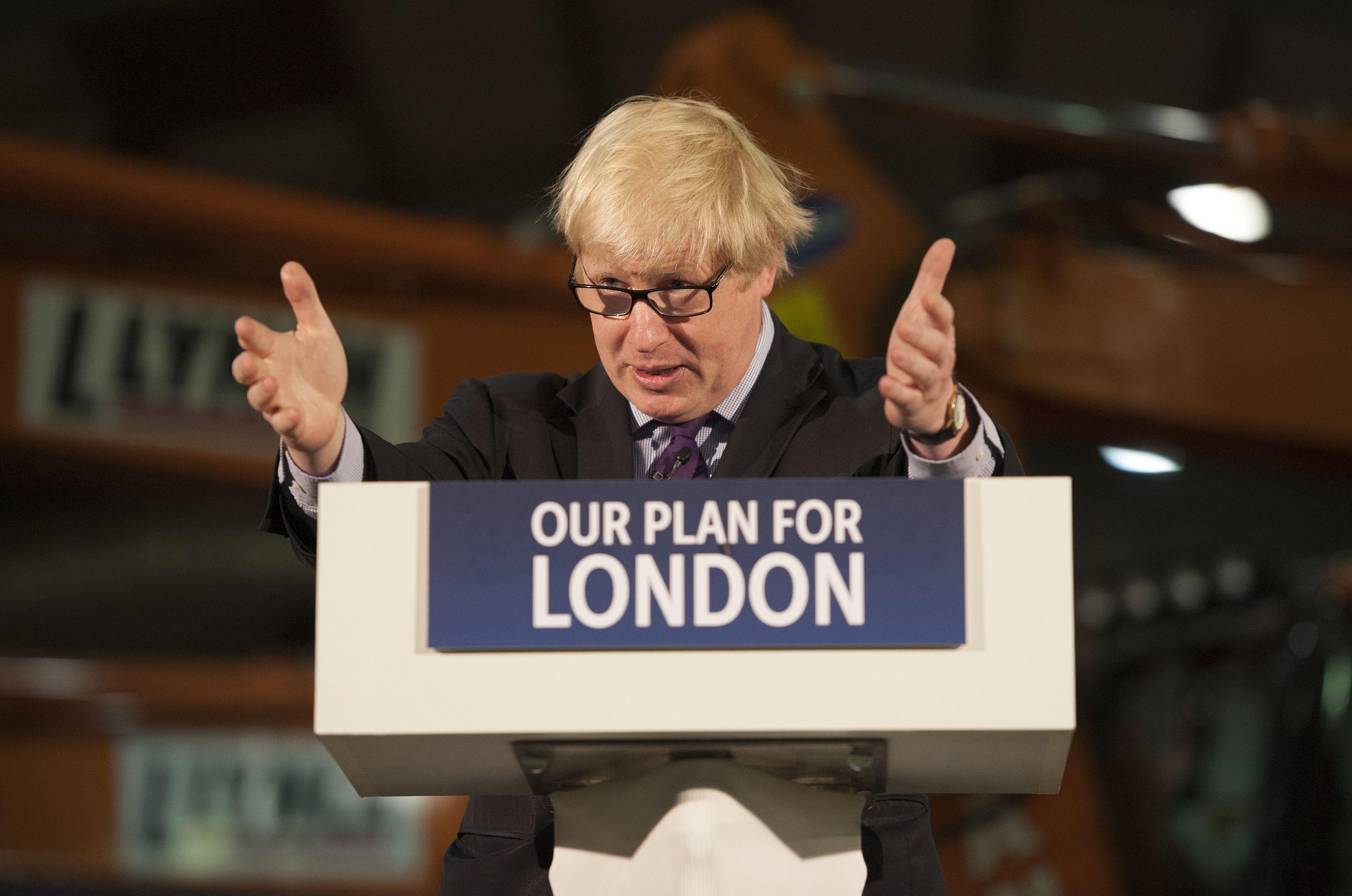 Mayor of London Boris Johnson speaks at Lynch Plant Hire Depot in North West London.