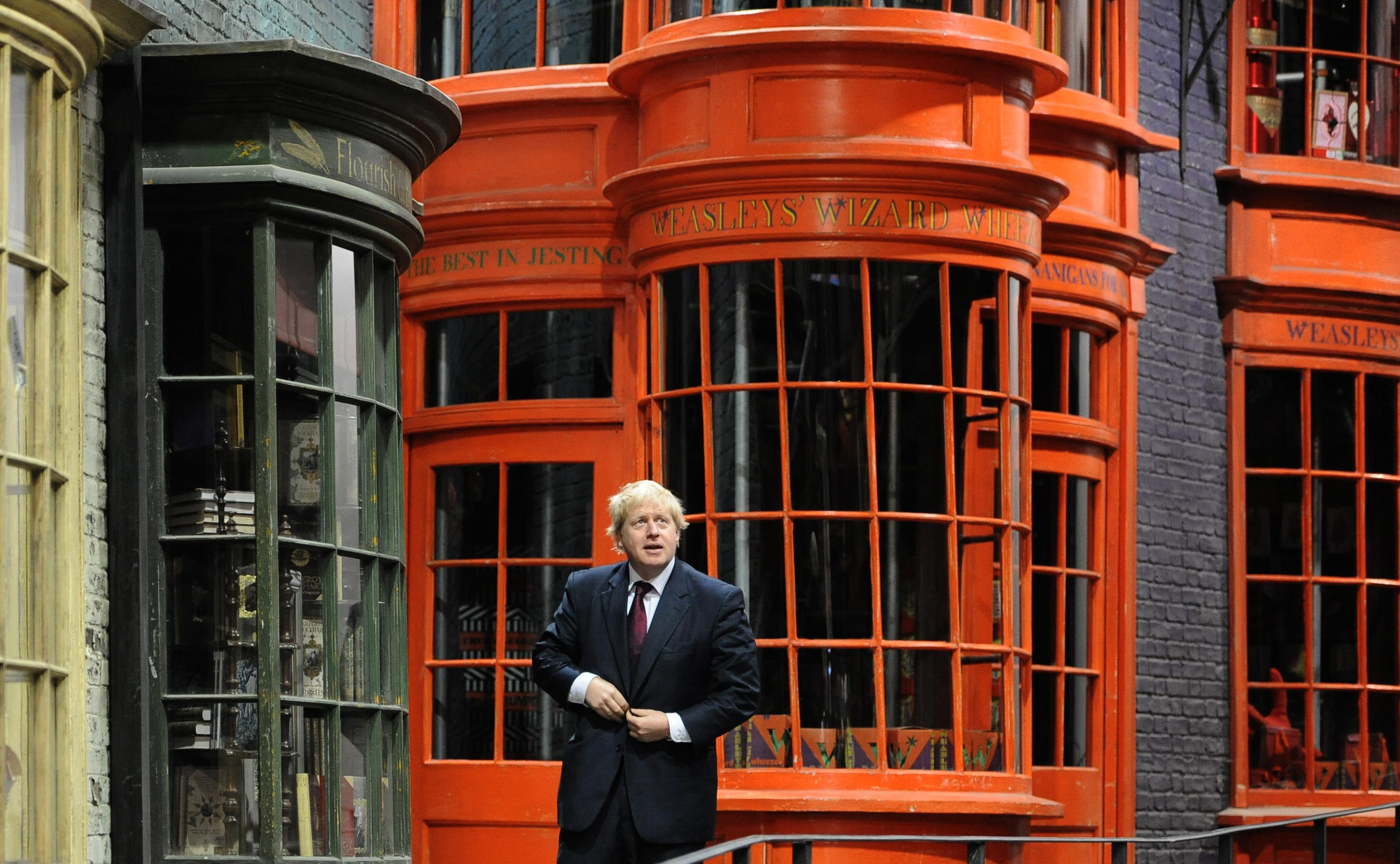 Mayor of London Boris Johnson walks down Diagon Alley as he visits the new attraction 'The Making of Harry Potter' at Warner Brothers studios in Leavesden, Hertfordshire. PRESS ASSOCIATION Photo Monday December 19, 2011. Photo credit should read: Anthony Devlin/PA Wire