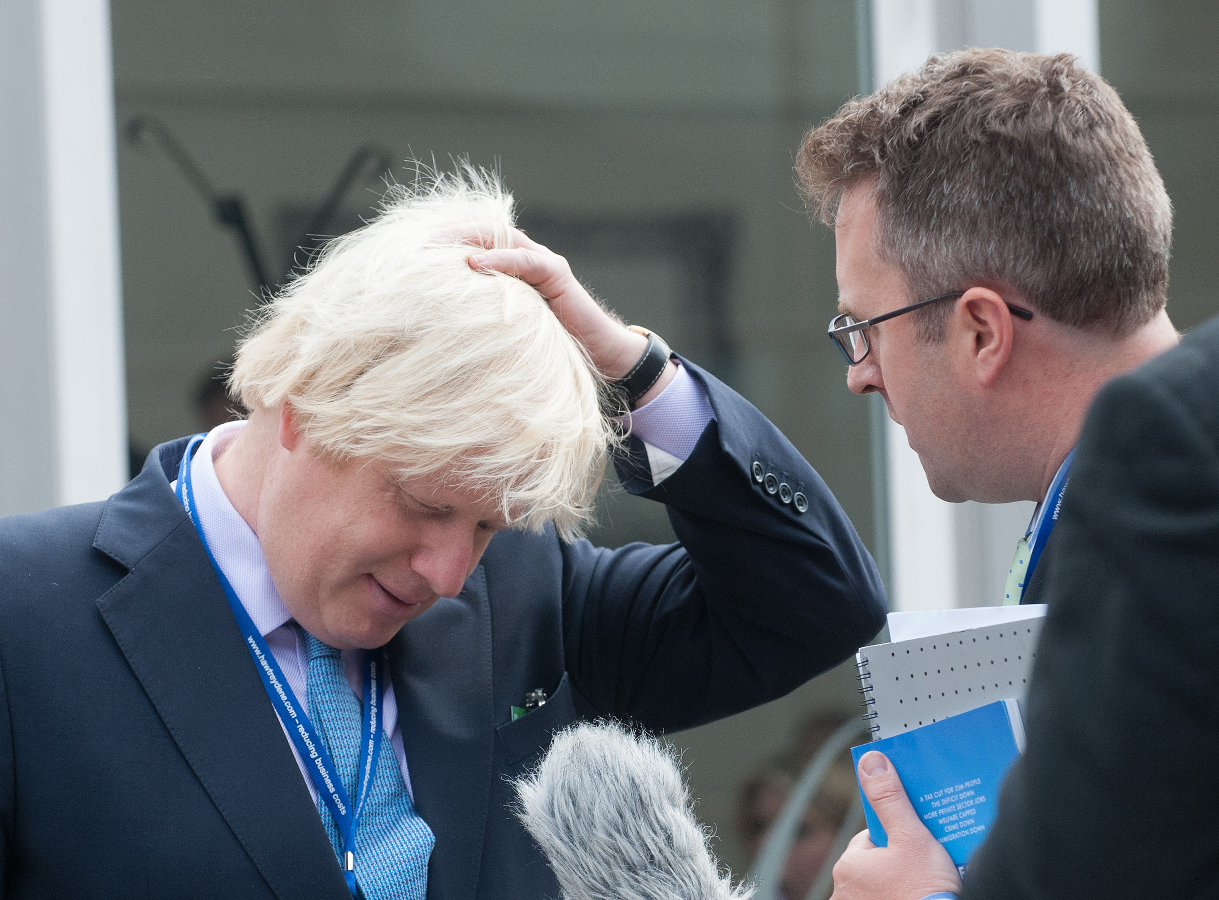 The Mayor of London Boris Johnson gives an interview outside Manchester Central during the Conservative Conference 2013.