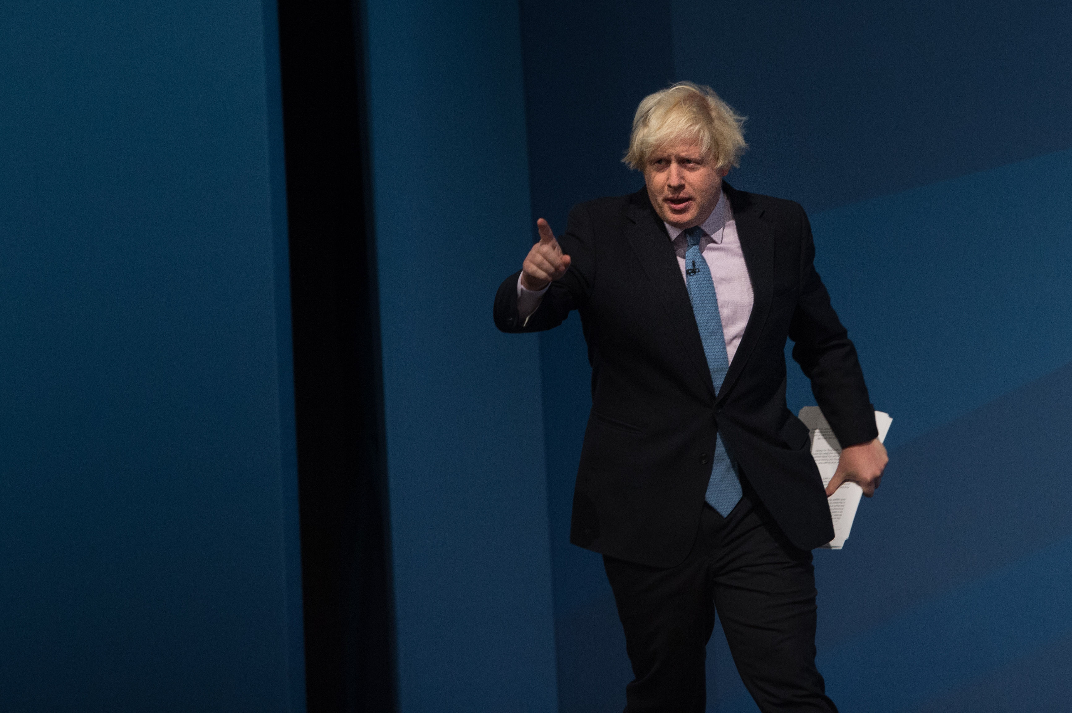 Mayor of London Boris Johnson addresses the Conservative Party conference in Manchester.