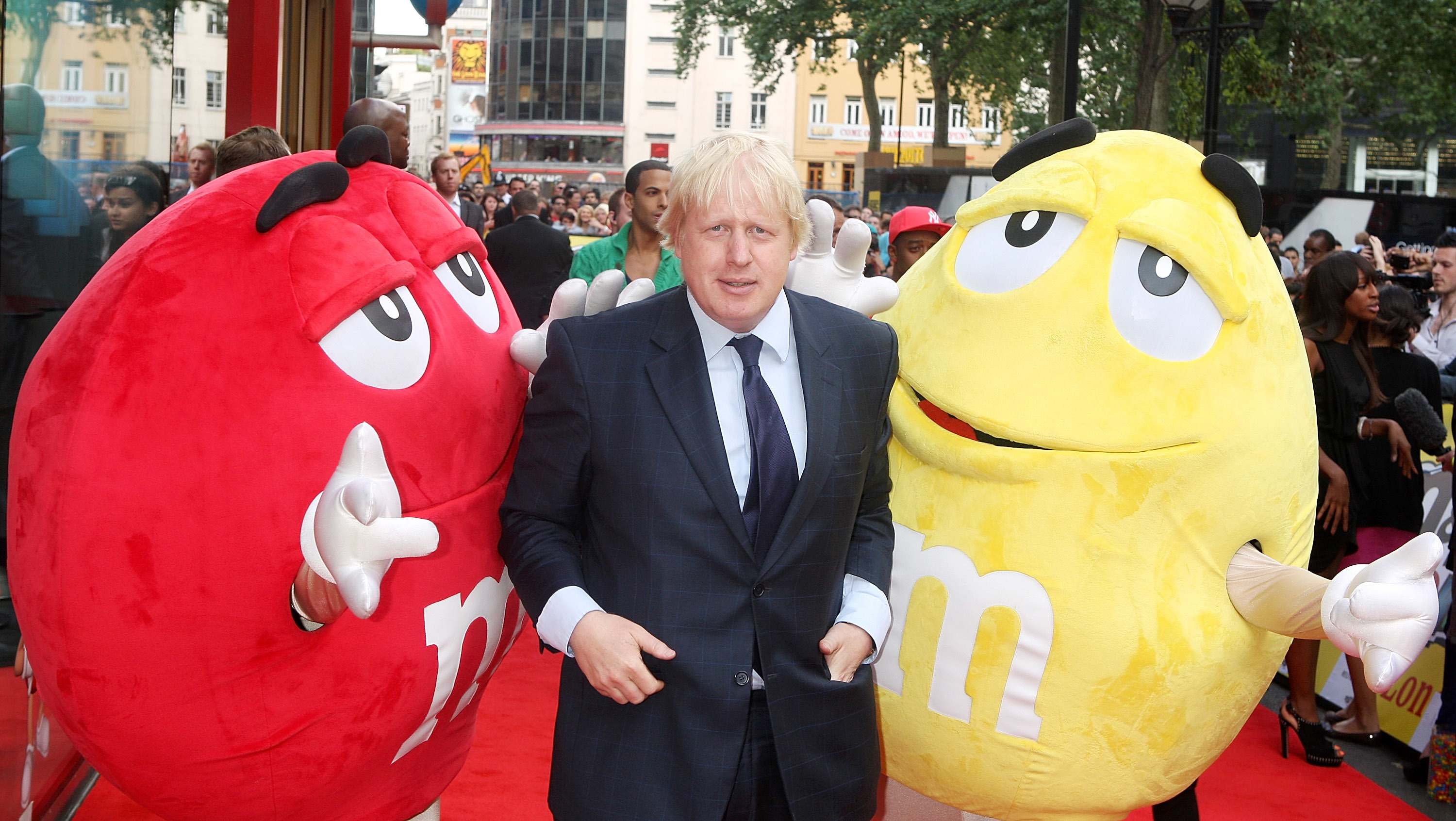 Boris Johnson with M&M Characters at the M&M Launch, Leicester Square,London on July 06, 2011.