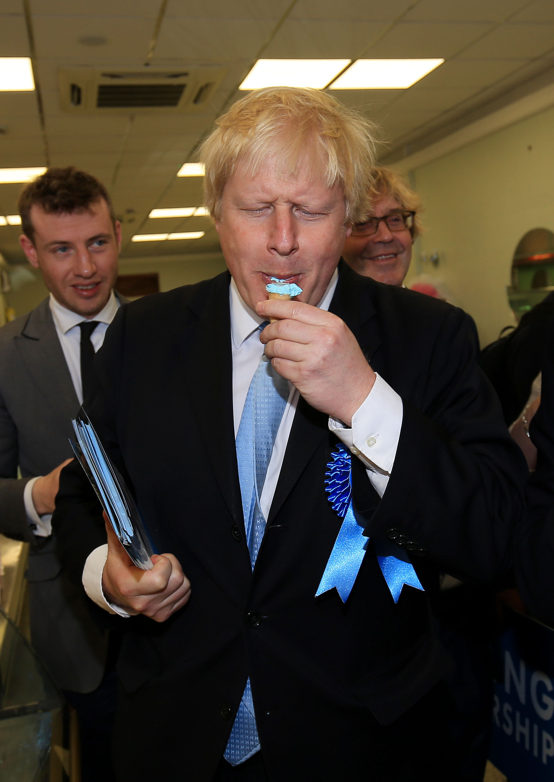 Mayor of London Boris Johnson, enjoys an ice cream during a General Election campaign walkabout in Ramsgate, Kent.