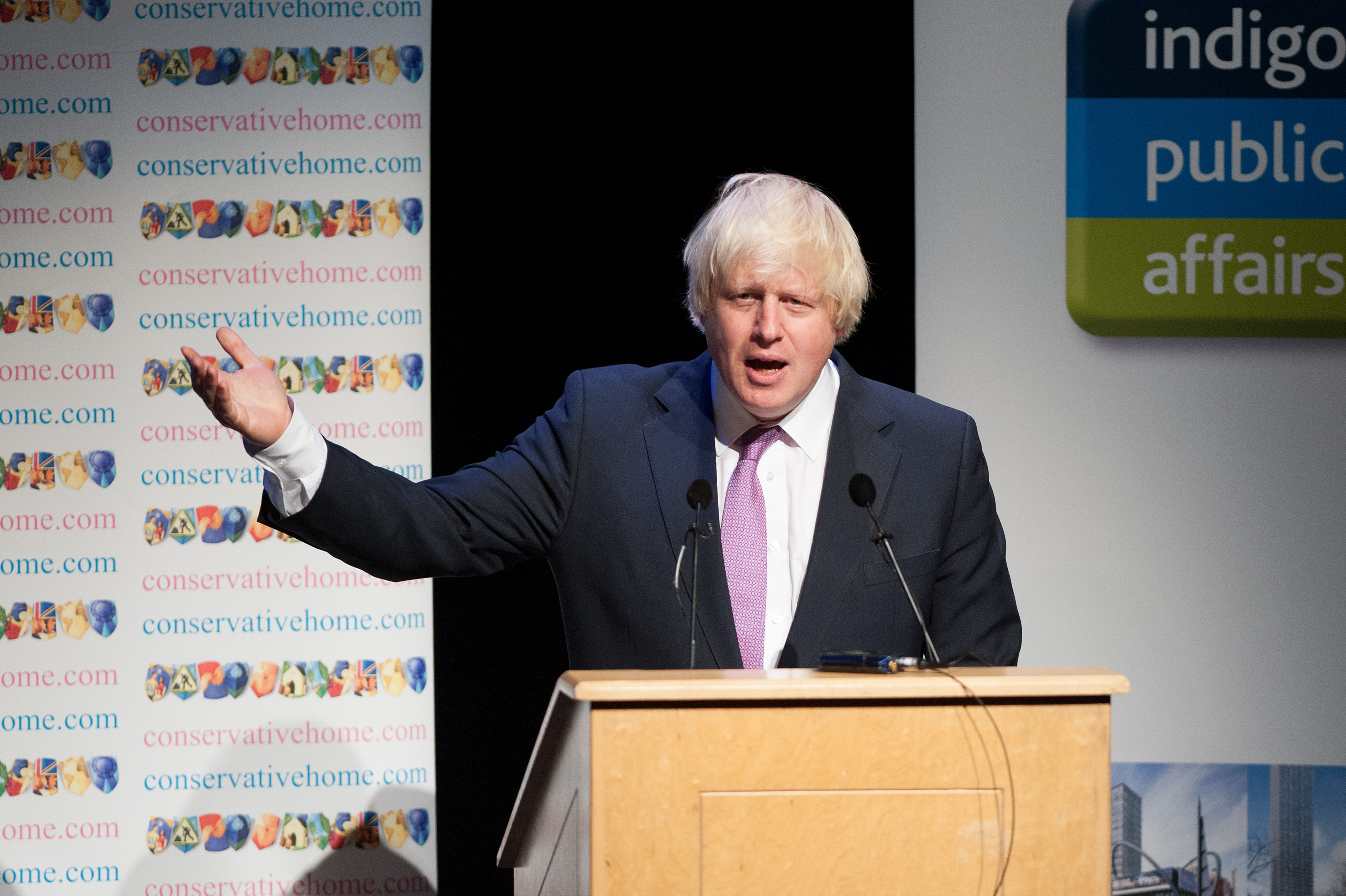 The Mayor of London Boris Johnson speaks to delegates during the Conservative Conference 2013, held at Manchester Central
