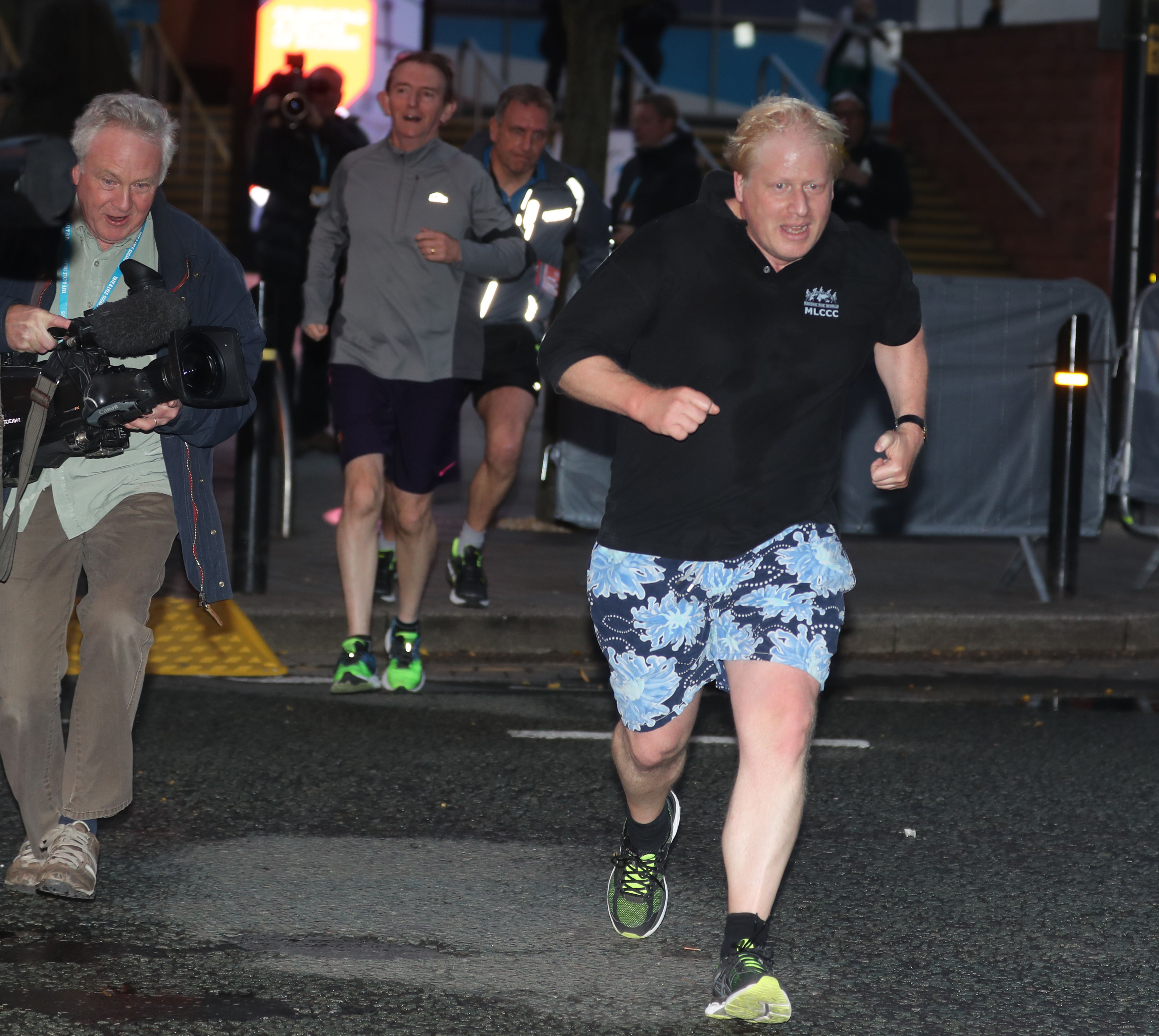 Foreign Secretary Boris Johnson goes for an early morning run during the Conservative Party Conference in Manchester.