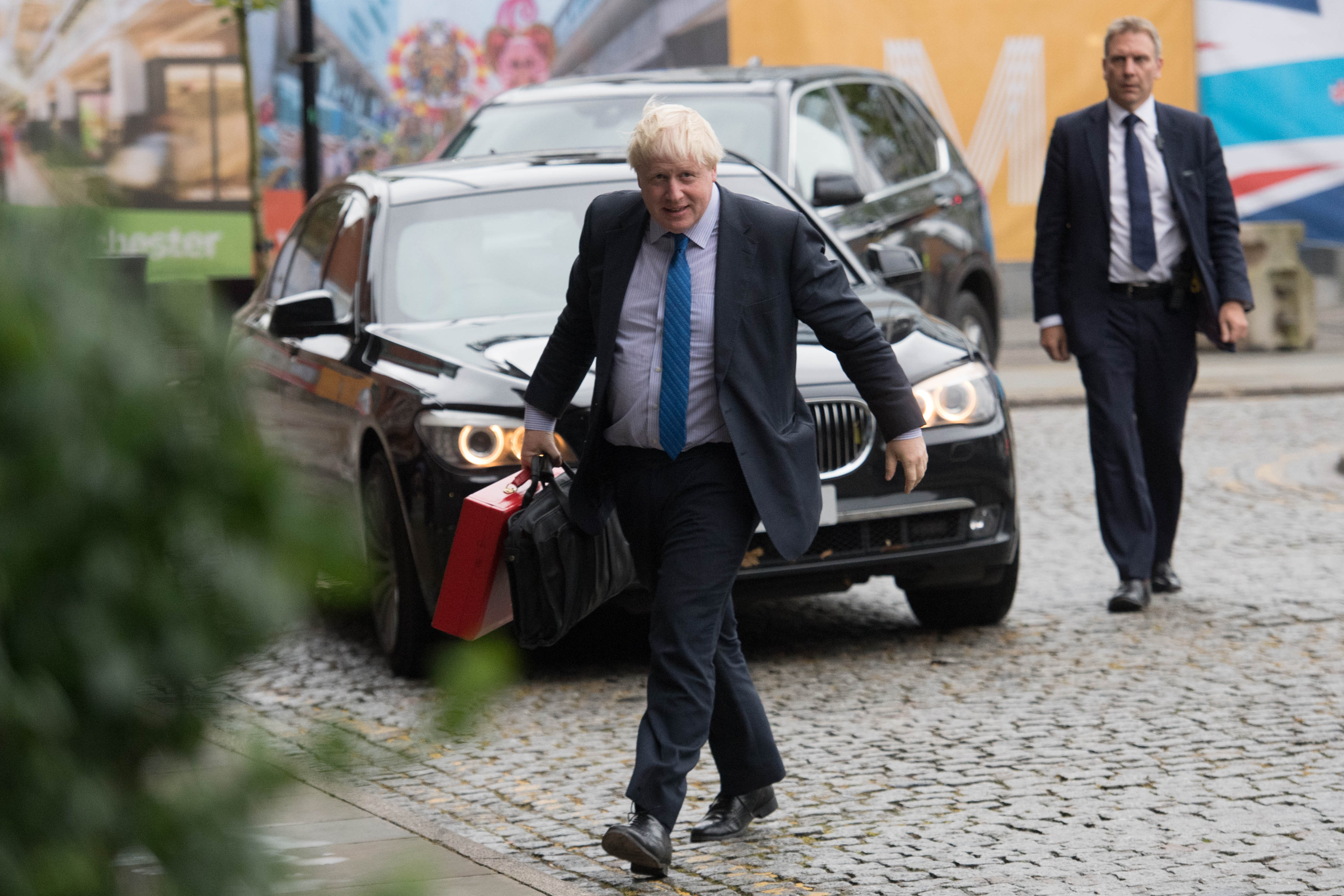 Foreign Secretary Boris Johnson arrives at the Conservative Party Conference at the Manchester Central Convention Complex in Manchester.