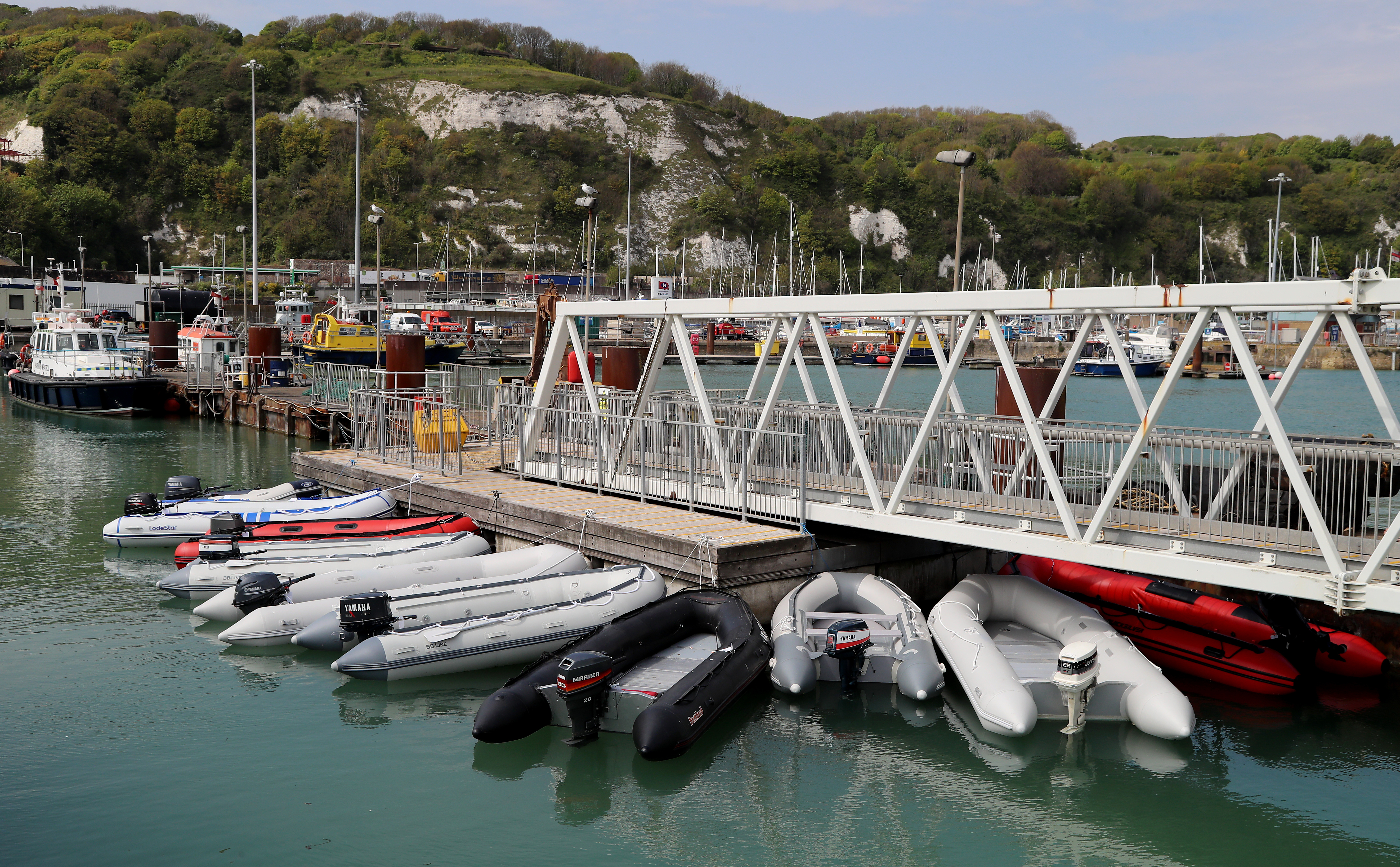A view of dinghies tied up at The Port of Dover in Kent following being seized by Border Force officers after they were used in recent migrant crossing across The Channel as the UK continues in lockdown to help curb the spread of the coronavirus.