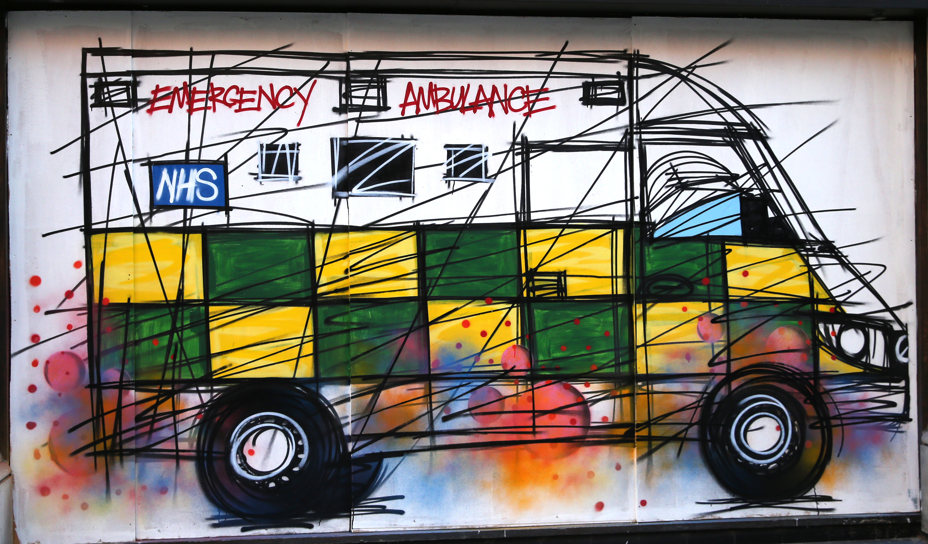 A graffiti depicting an NHS ambulance by street artist Nathan Bowen in central London, as the UK continues in lockdown to help curb the spread of the coronavirus. Picture date: Monday April 27, 2020.