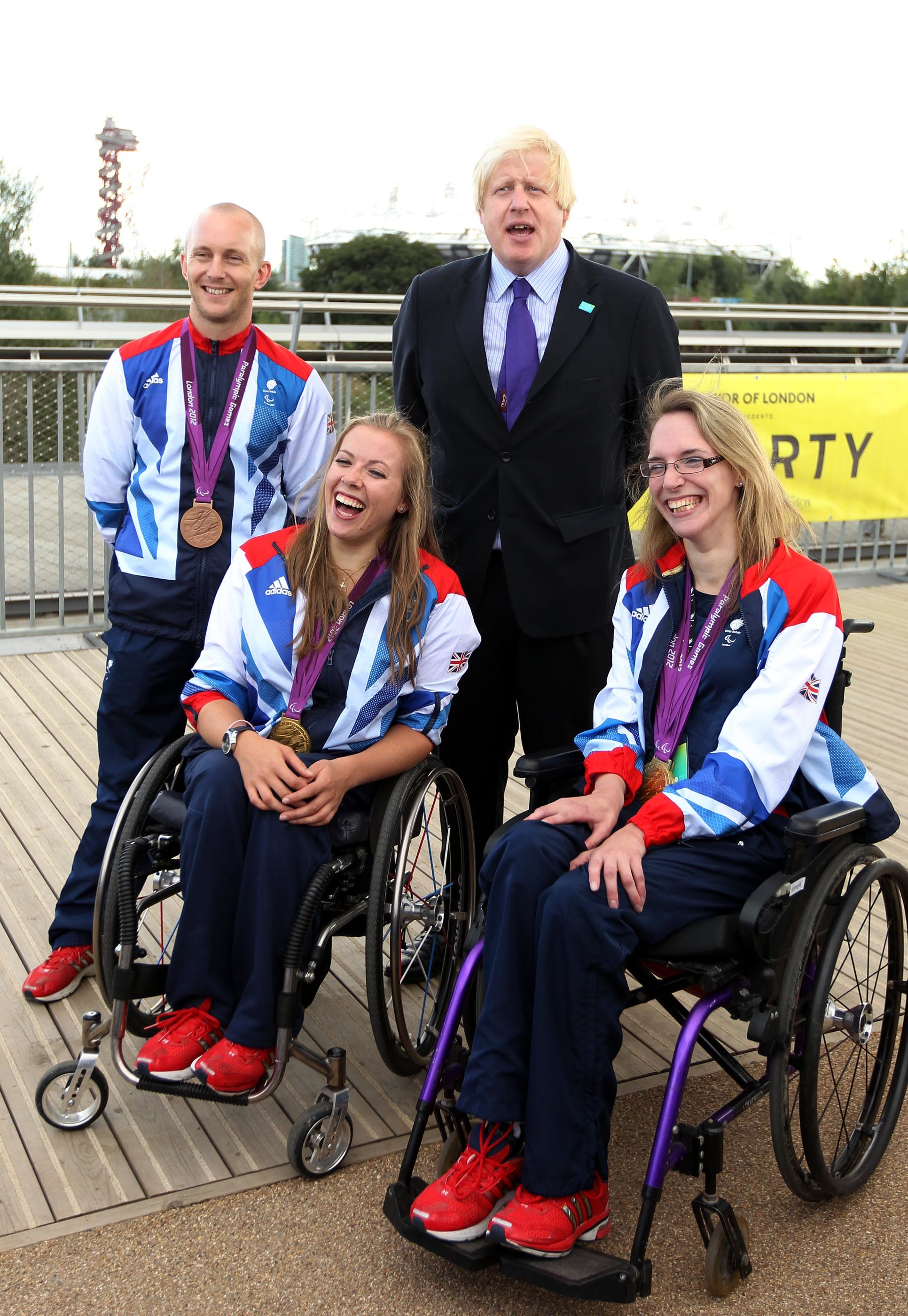 Mayor of London Boris Johnson with Ben Quilter (left) Hannah Cockcroft (2nd left) and Sophie Christiansen (right) at the National Paralympic Day in the Queen Elizabeth Olympic park in Stratford, where he was presented the Paralympic order by the International Paralympic committee. PRESS ASSOCIATION Photo. Picture date: Saturday September 7, 2013. See PA story SPORT Paralympics. Photo credit should read: Sean Dempsey/PA Wire