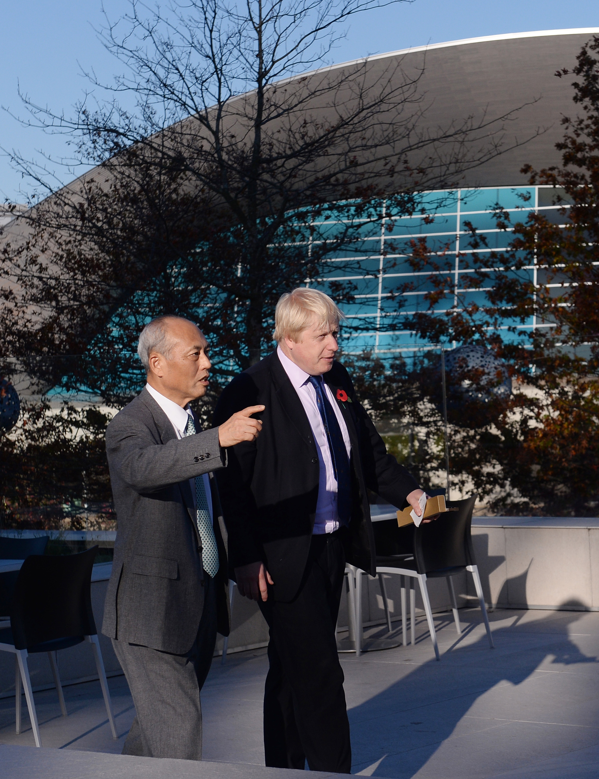 Mayor of London Boris Johnson welcomes the Governor of Tokyo Mr Yoichi Masuzoe to the Olympic Park in London, where he showed him the various London 2012 Olympic venues ahead of Tokyo hosting the 2020 Games.