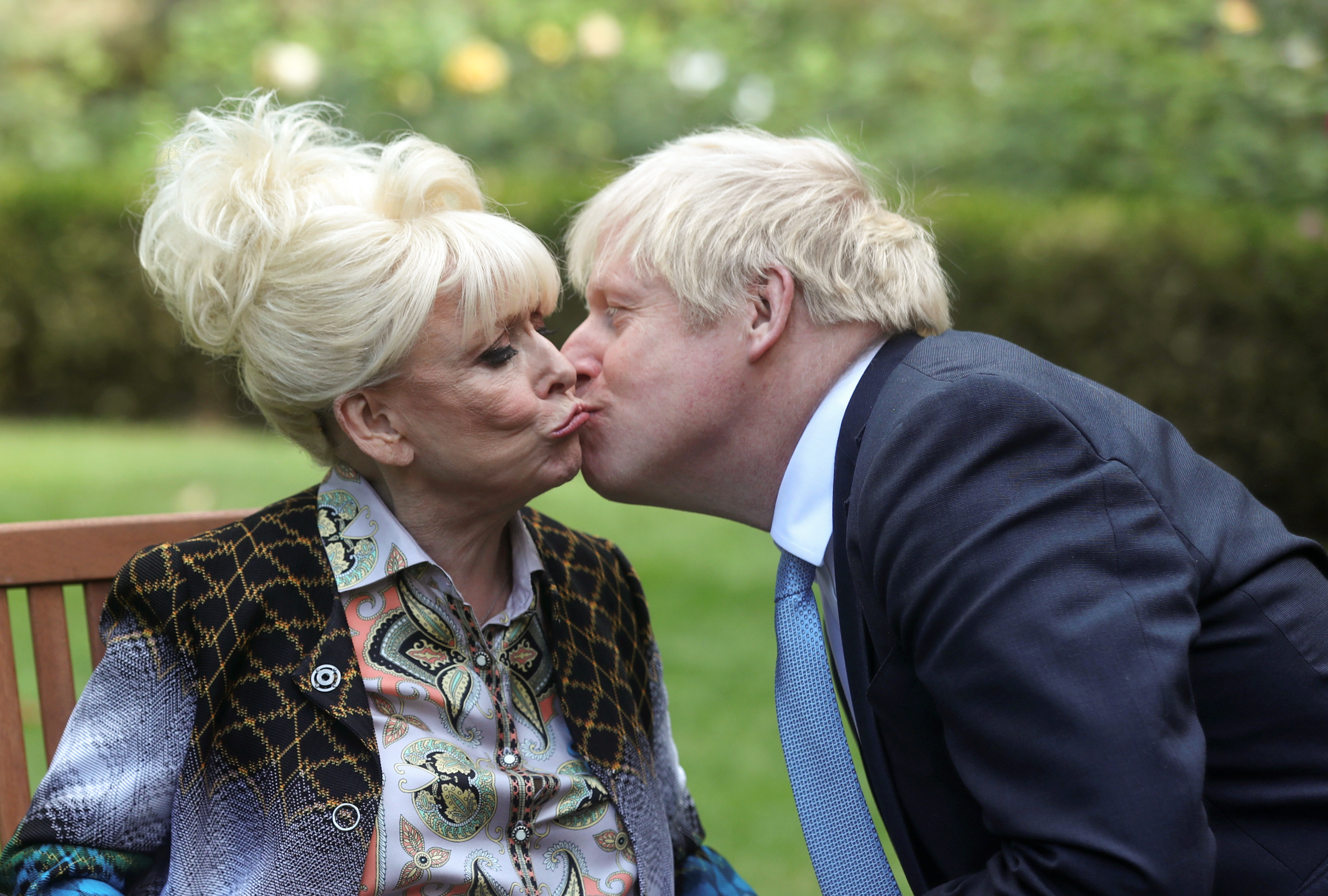 """PA REVIEW OF THE YEAR 2019 File photo dated 02/09/19 of Dame Barbara Windsor meeting Prime Minister Boris Johnson after she delivered an Alzheimer's Society open letter to 10 Downing Street in Westminster, London, calling on him to address the """"devastating state"""" of dementia care."""