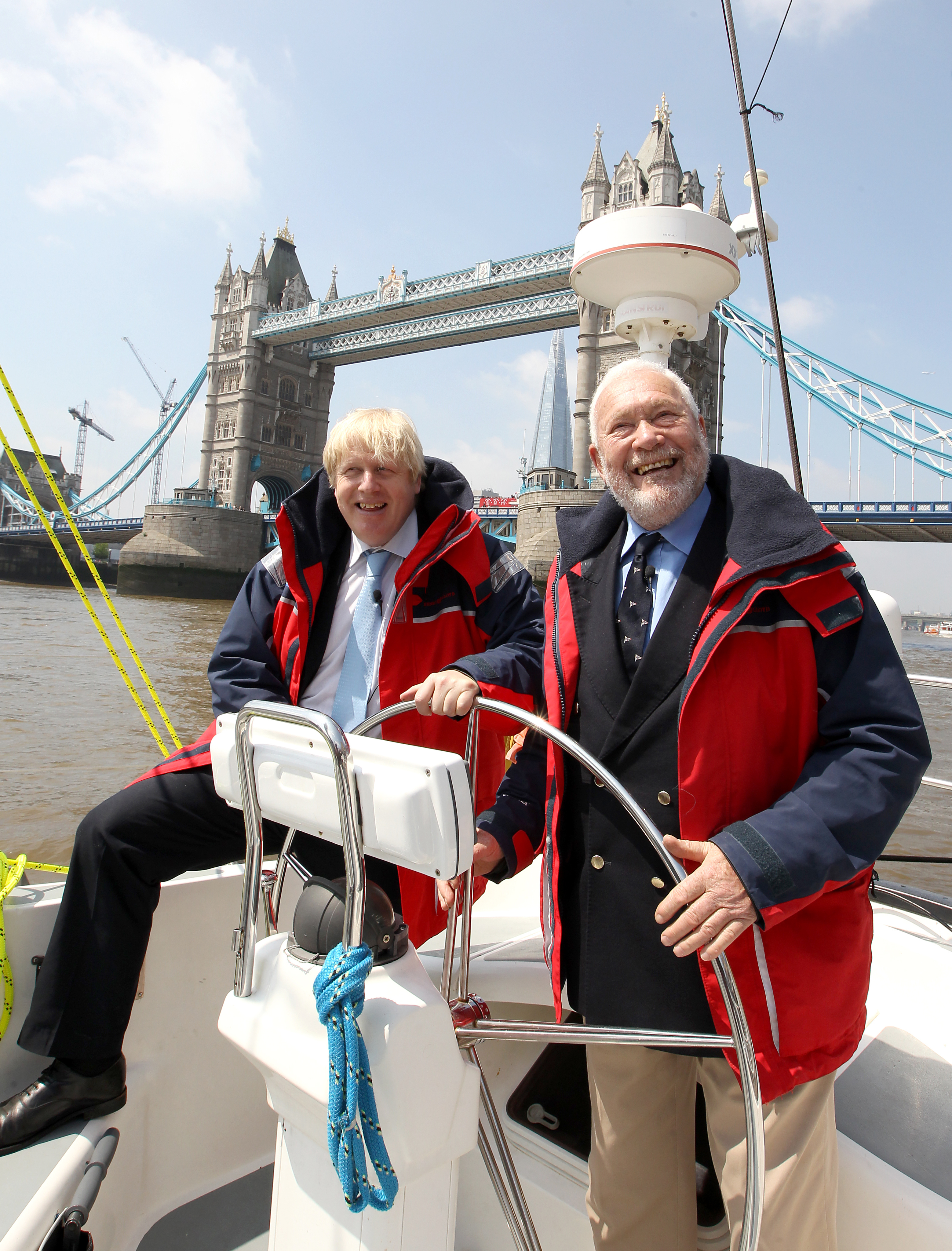 London Mayor Boris Johnson and Sir Robin Knox-Johnston at the announcement for London to host the start and Finish of the 2013-14 edition of the Clipper Round the World Yacht Race, during a photo call in London.
