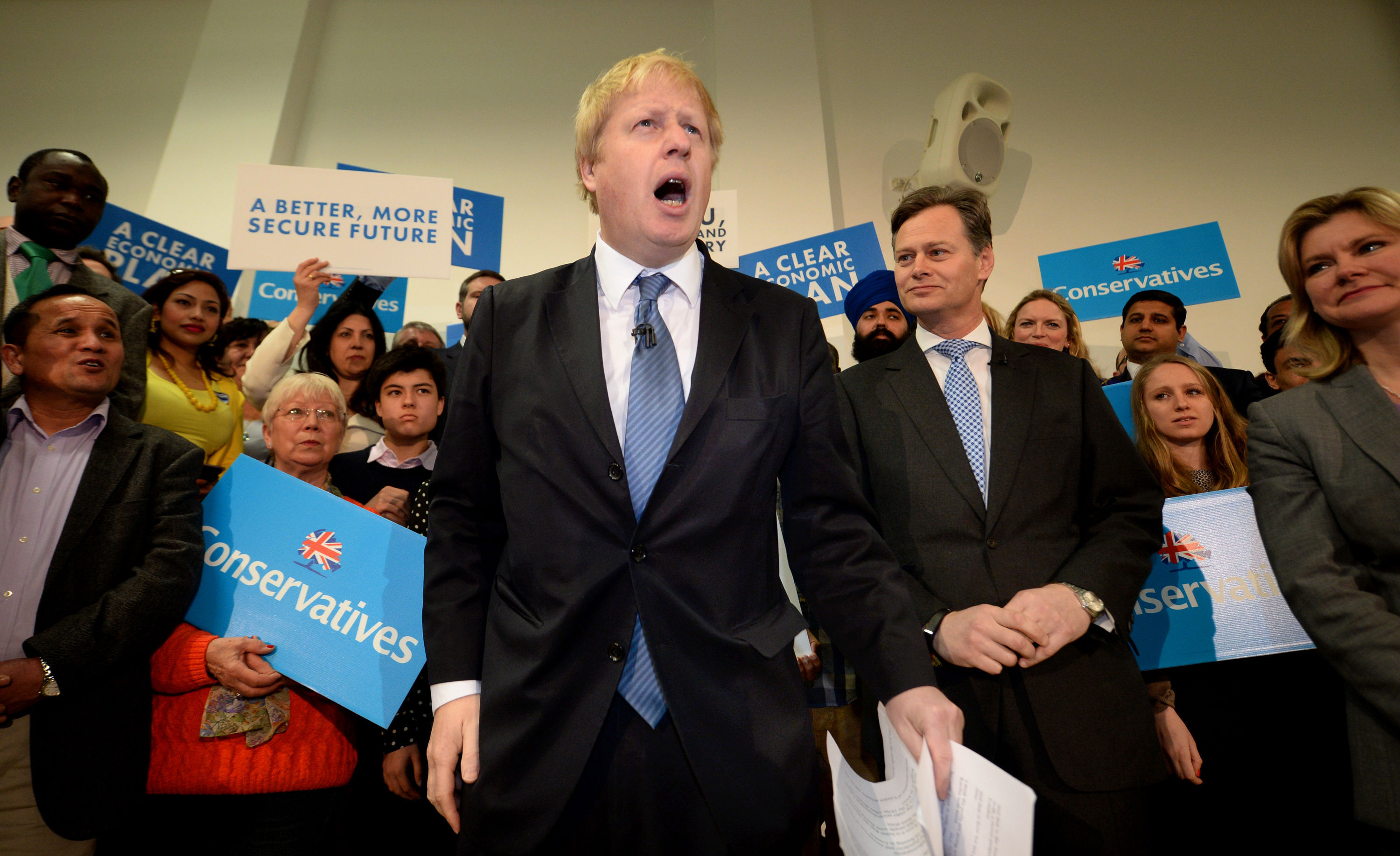 Mayor of London Boris Johnson launches the Conservative London campaign at Hartley Hall in Mill Hill, London.