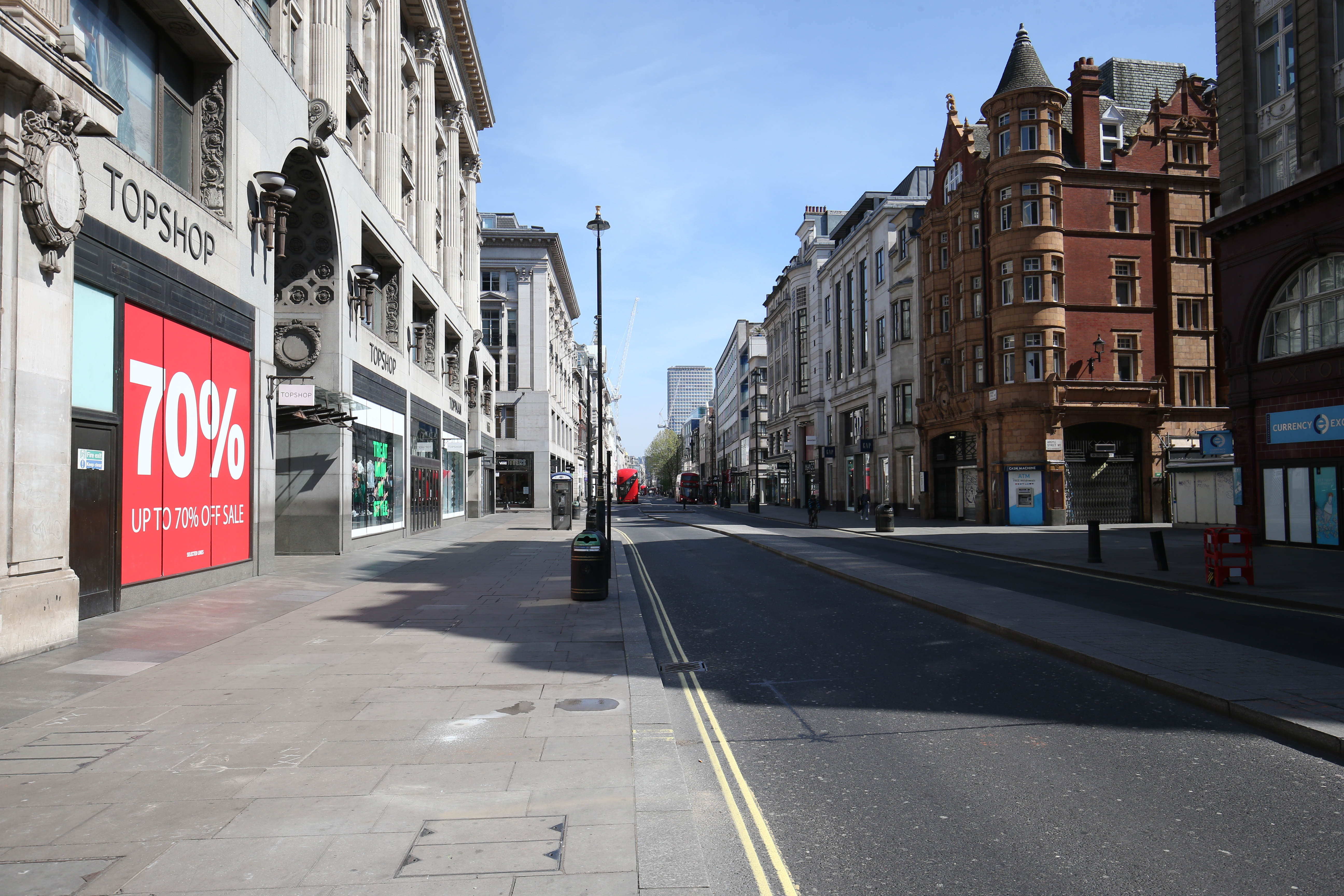 A view along Oxford Street, London, looking from Oxford Circus towards Centrepoint, as the UK continues in lockdown to help curb the spread of the coronavirus.
