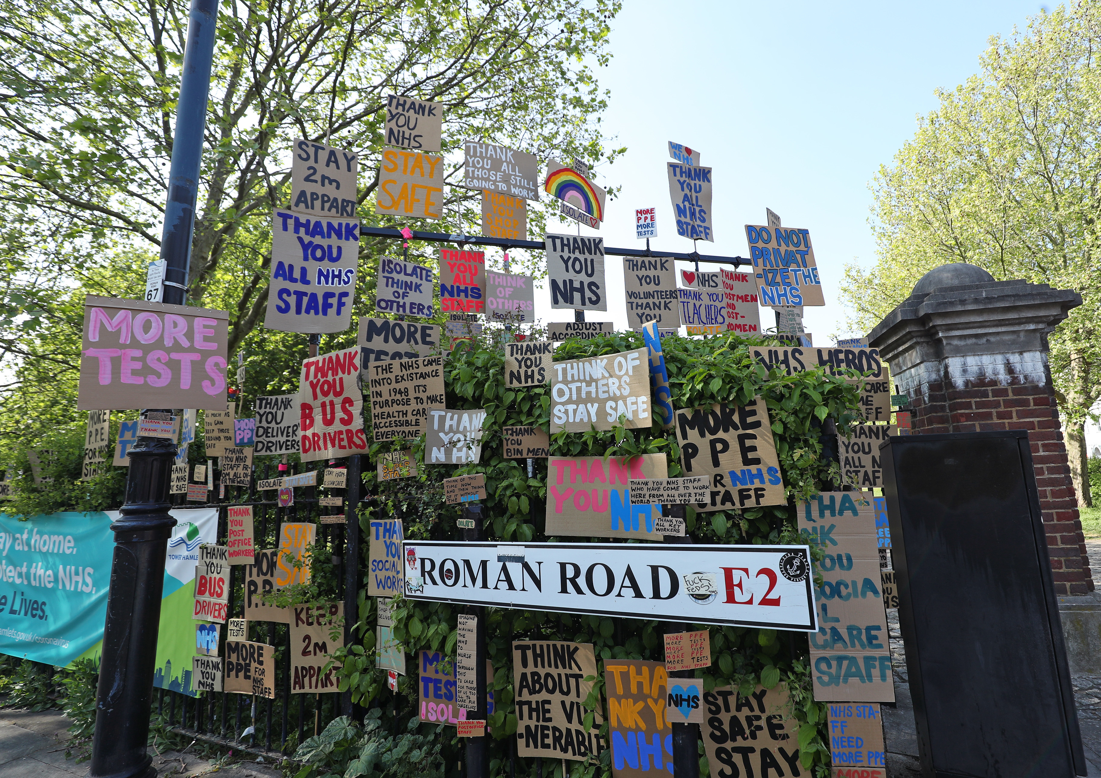 Handmade signs in support of the NHS on Roman Road in east London, as the UK continues in lockdown to help curb the spread of the coronavirus.
