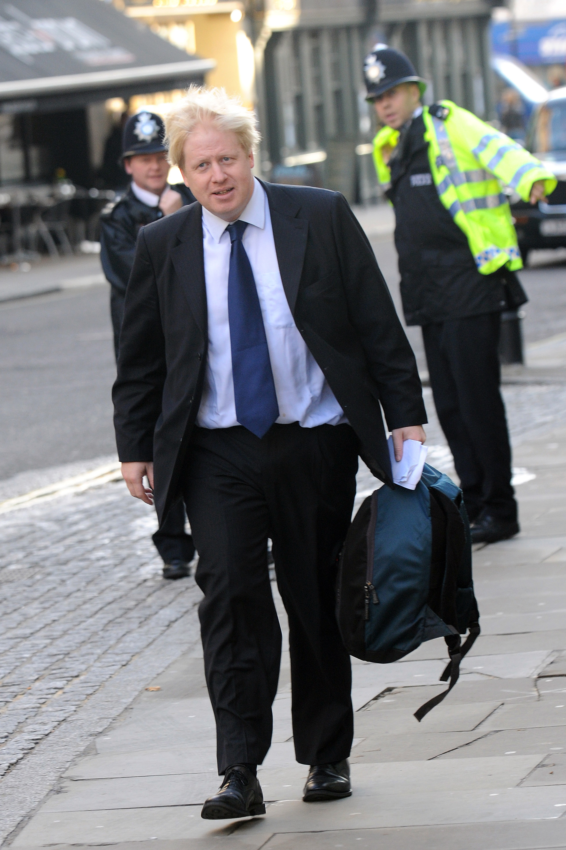 Mayor of London Boris Johnson arrives to attend a concert for children organised by The Prince's Foundation for Children and the Arts at the Royal Opera House on November 14, 2008 in London.