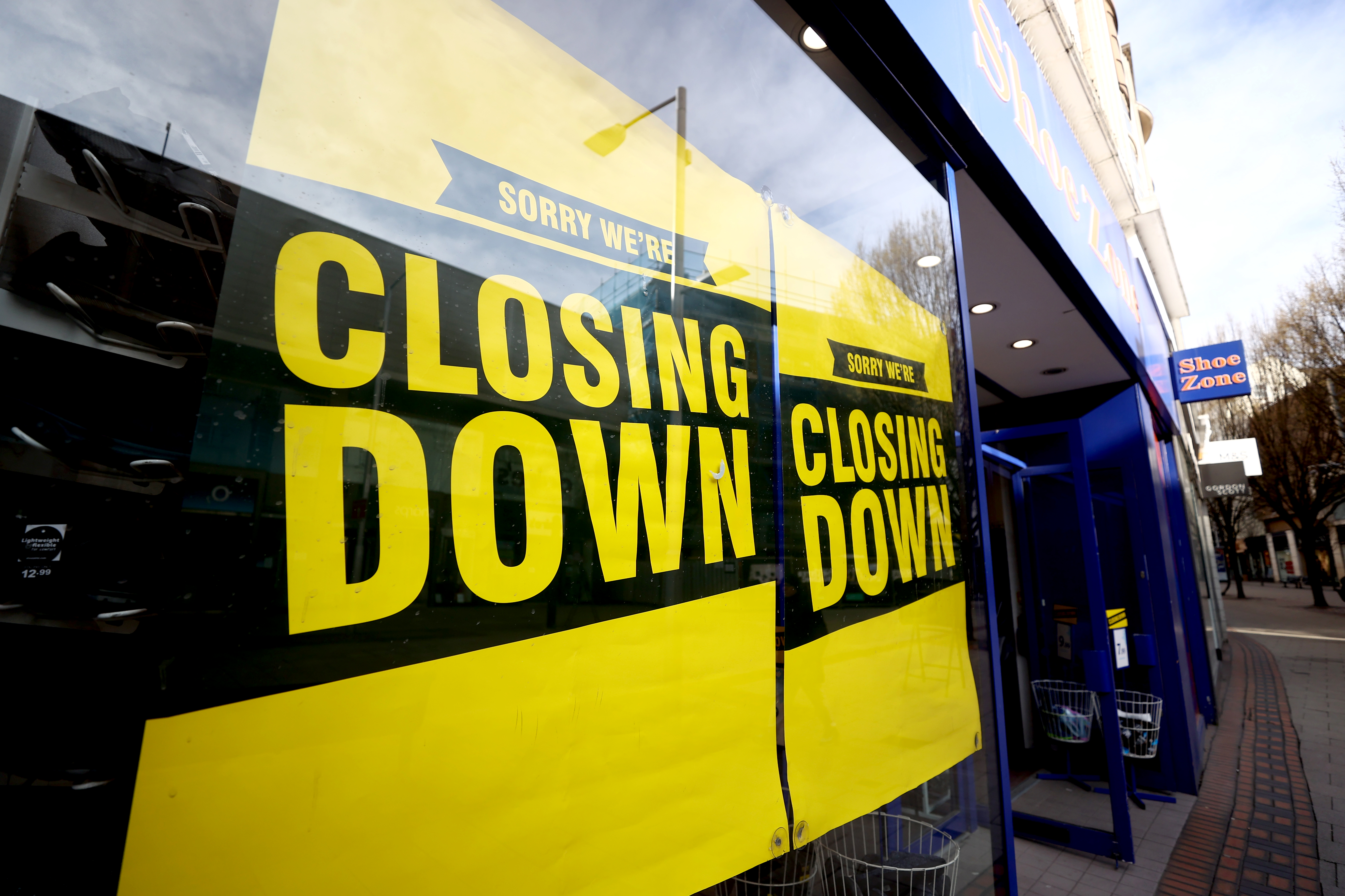 A Shoe Zone store in Nottingham which is closing down. The company is planning to cancel its final dividend payment, after witnessing a drop in footfall as a result of the Covid-19 coronavirus pandemic. (Photo by Tim Goode/PA Images via Getty Images)