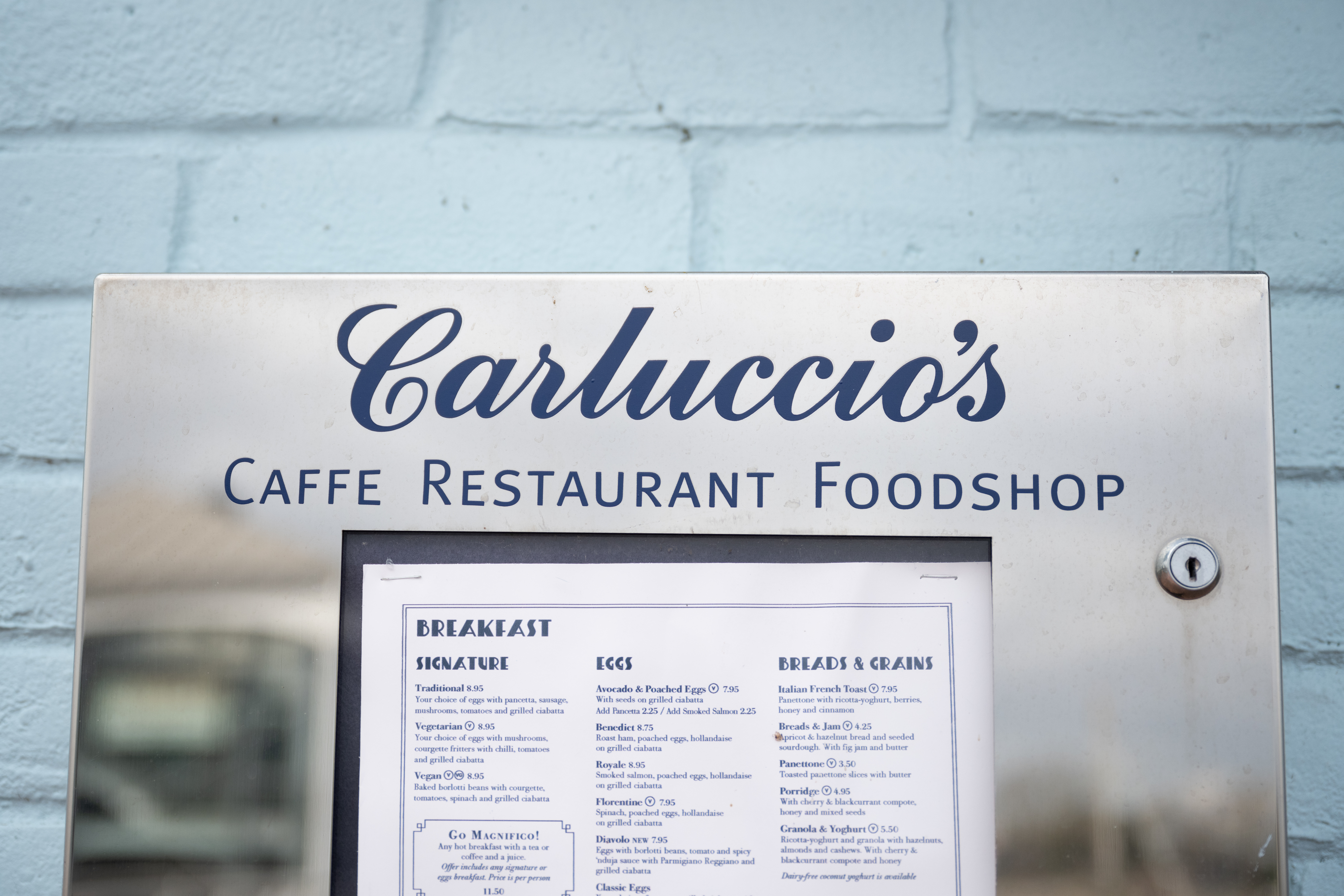 CARDIFF, WALES - MARCH 30: A close-up of a Carluccio's restaurant sign in Cardiff Bay on March 30, 2020, in Cardiff, Wales. Carluccio's has entered into administration due to problems made worse by the Coronavirus. The Italian restaurant chain has 71 restaurants across the UK and employs 2000 staff. The Coronavirus (COVID-19) pandemic has spread to many countries across the world, claiming over 35,000 lives and infecting hundreds of thousands more. (Photo by Matthew Horwood/Getty Images)