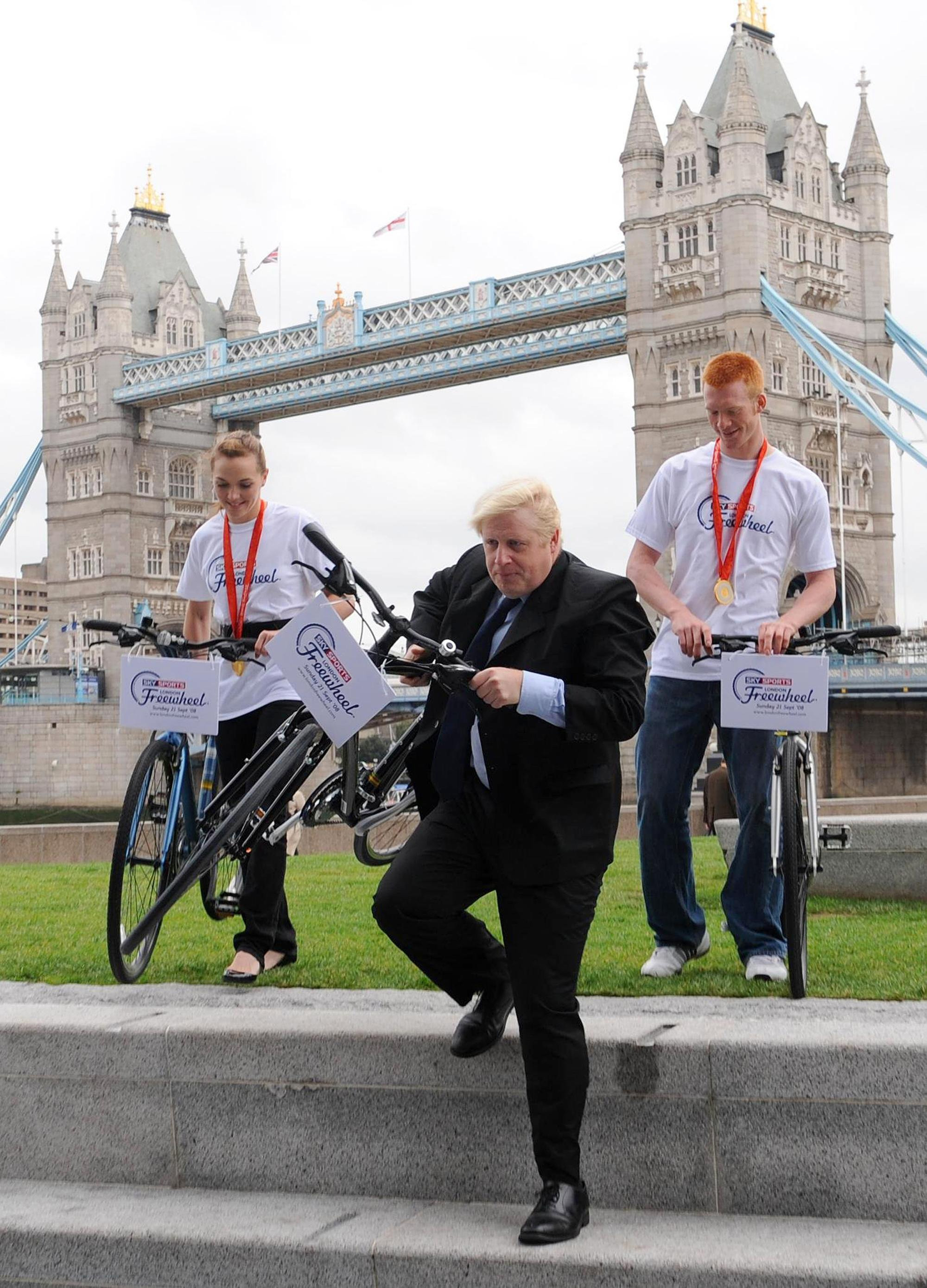 London Mayor Boris Johnson attends a photocall with Olympic Gold medal cyclists Victoria Pendleton and Ed Clancy to encourage Londoners to sign up for the Sky Sports London Freewheel event on September 21st.
